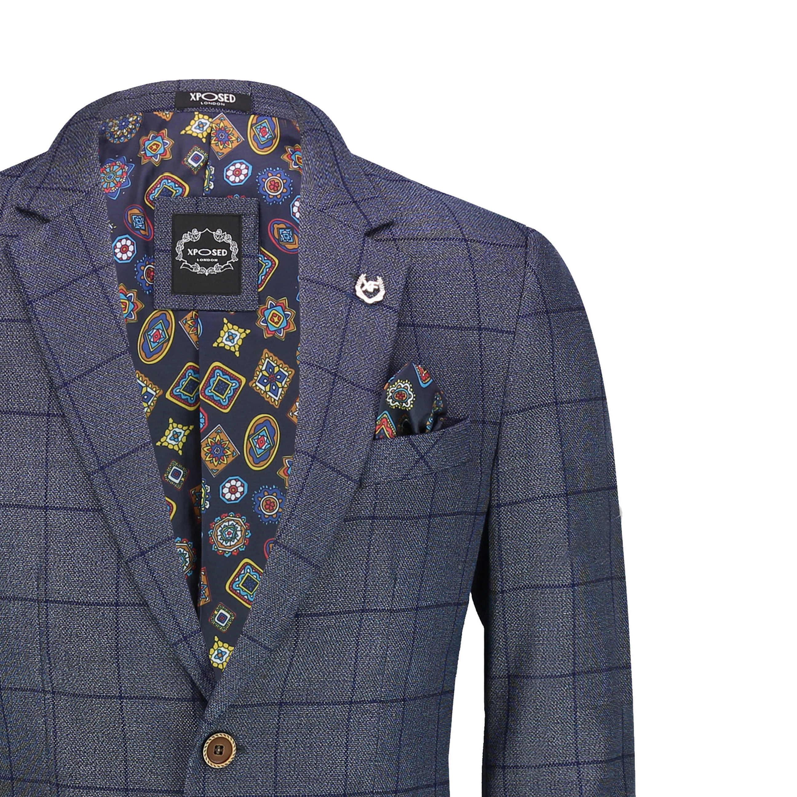 Mens Windowpane Check Suit Jacket Retro Tailored Fit Tweed Blazer Tan Oak Blue
