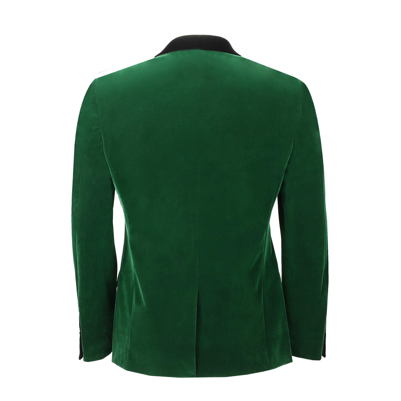 Mens Soft Velvet Blazer Slim Fit Vintage Casual Smart Black Trim Dinner Jacket