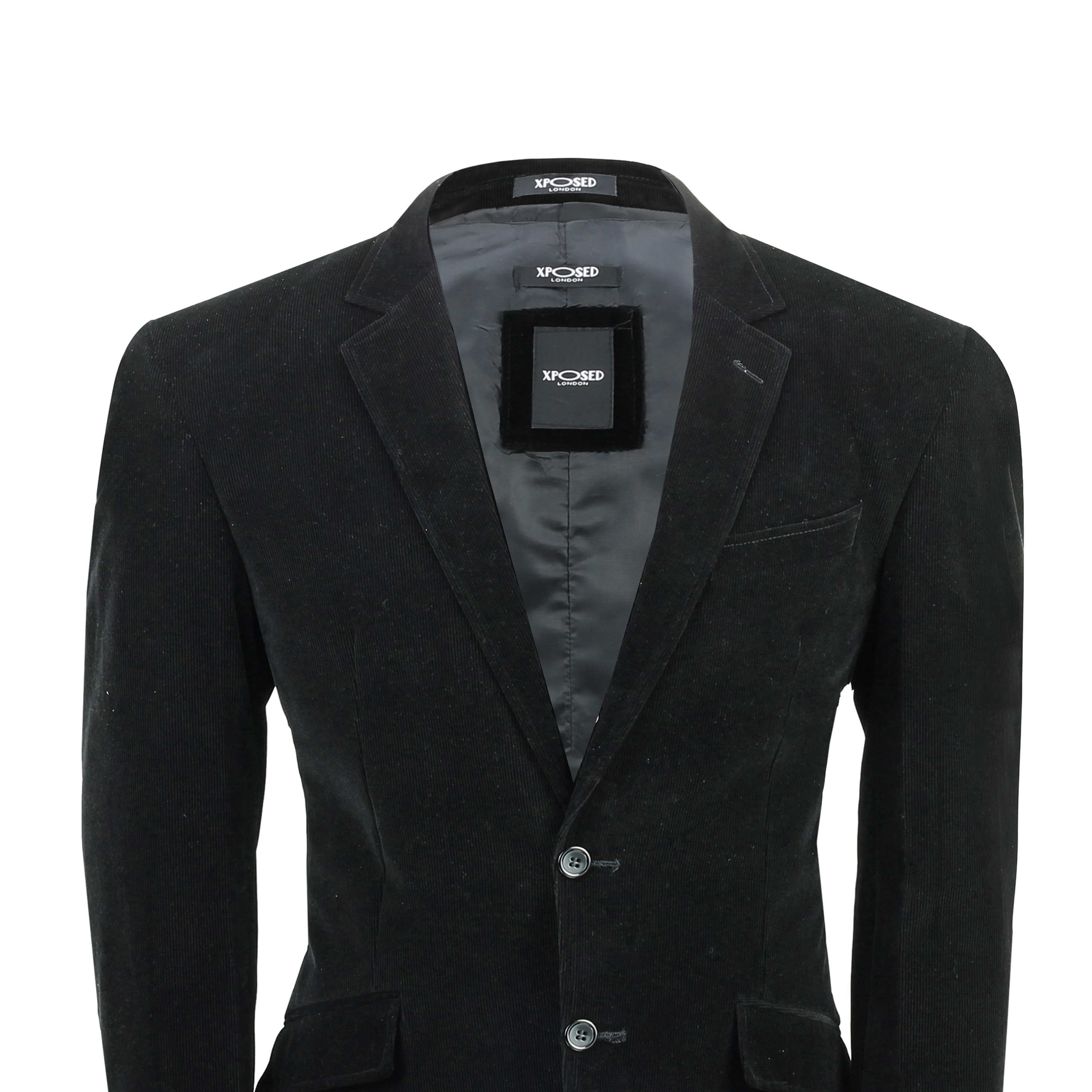 Mens Black Corduroy Vintage Smart Casual Fitted Velvet Blazer Waistcoat