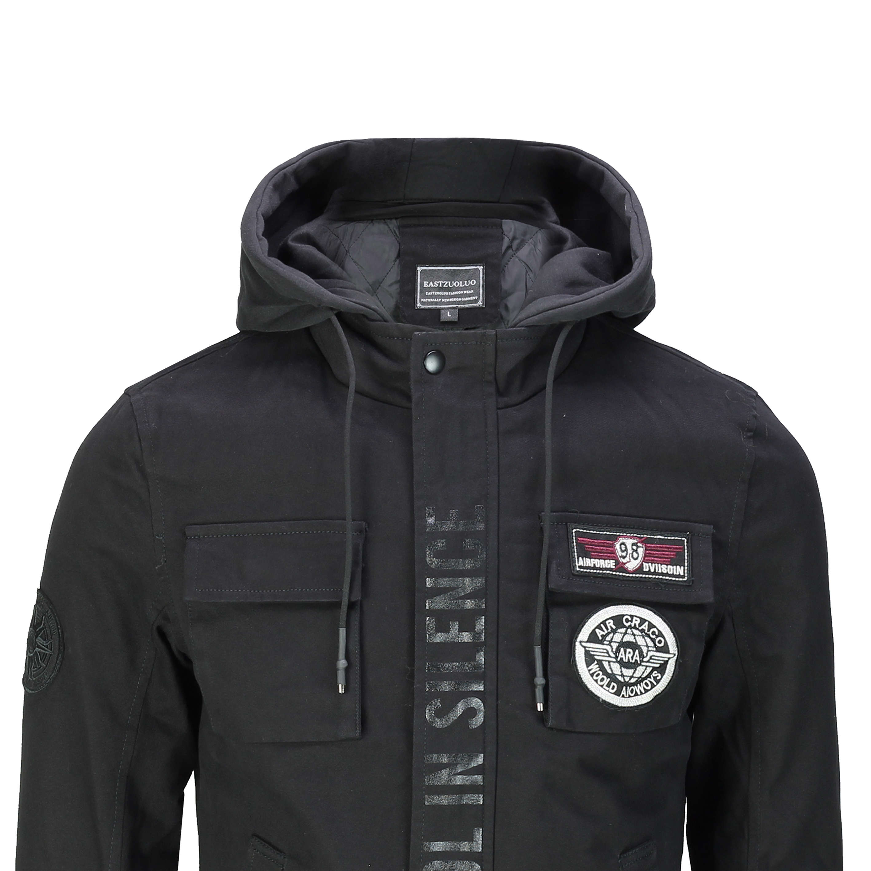 Mens Winter Warm Jacket Cotton Cargo Military Style Hood Slim Fit Coat 3 Colours