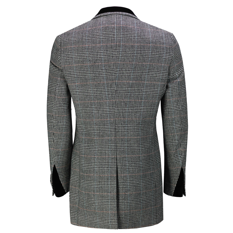 Mens Tweed Check 3//4 Long Overcoat Retro Peaky Blinders Tailored Fit Coat Jacket