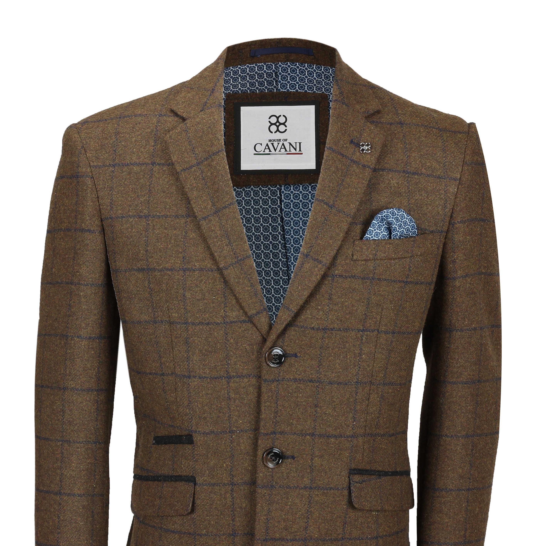 Mens Wool Long Coat Herringbone Tweed Check Trench Overcoat Smart Winter Jacket