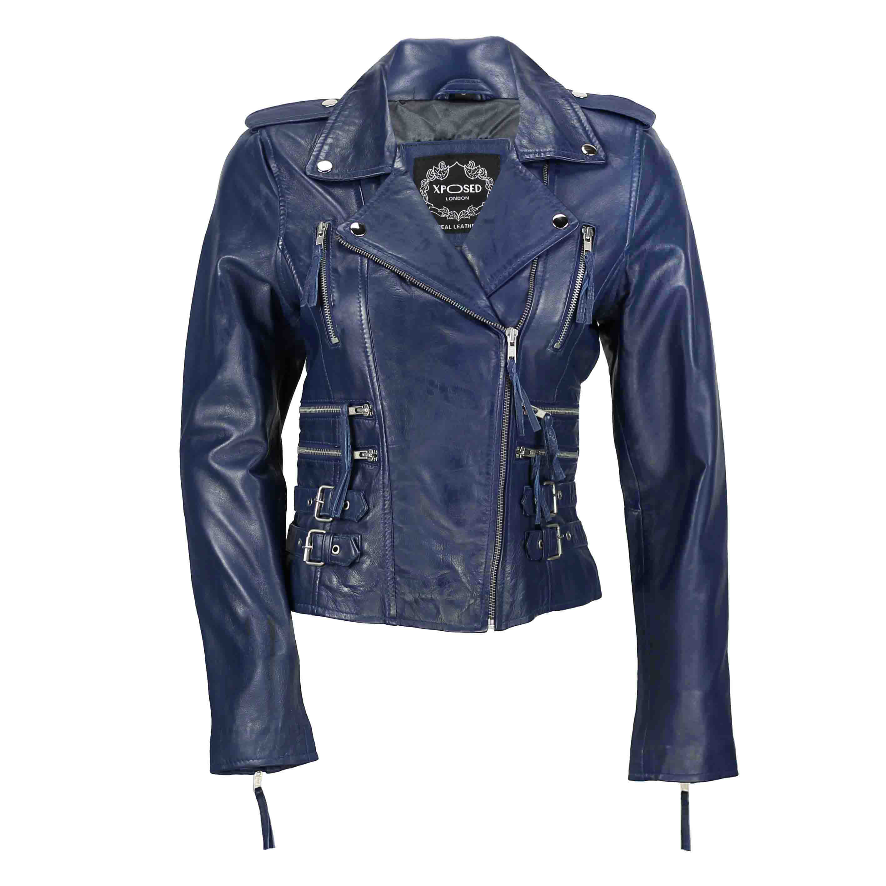 ladies biker style leather jackets uk