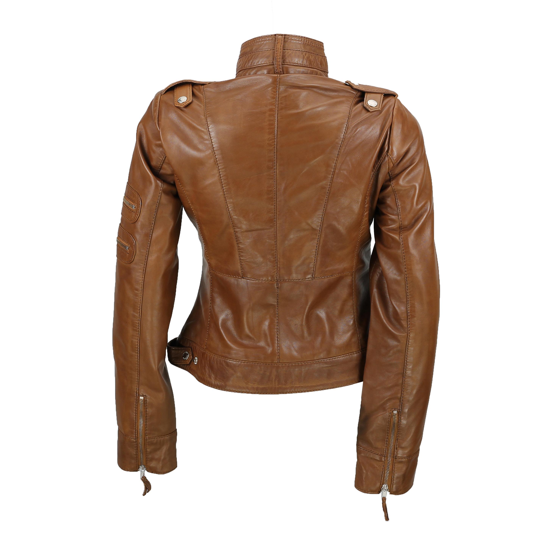 New Black Brown Ladies Womens Real Leather Slim Fit Soft Zip Biker Style Jacket