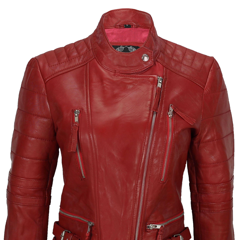 Ladies Women Soft Real Leather Biker Jacket Size UK 8 10 12 14 16 18 20 22 24