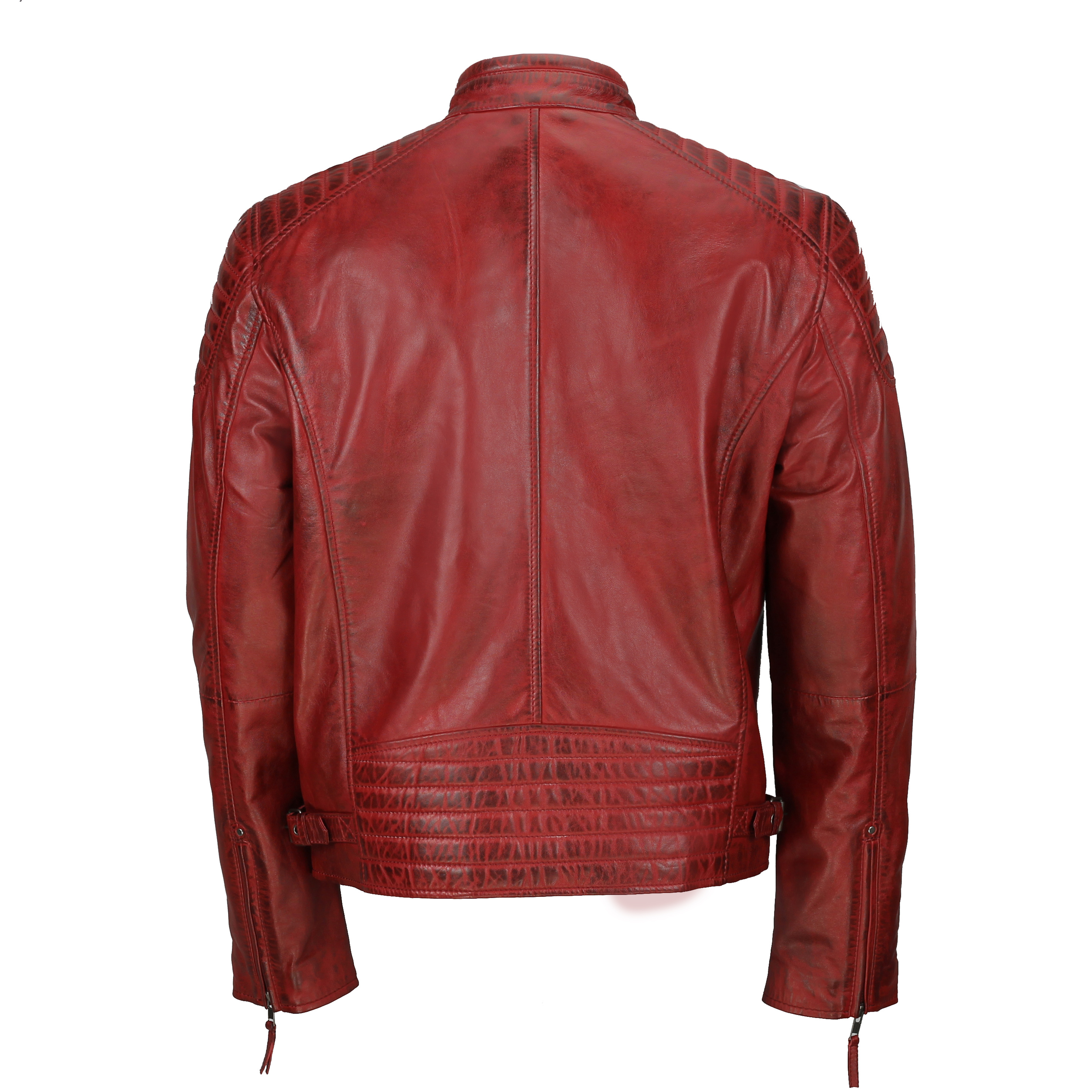Mens New Real Leather Fitted Black Tan Brown Retro Zip Smart Casual Biker Jacket