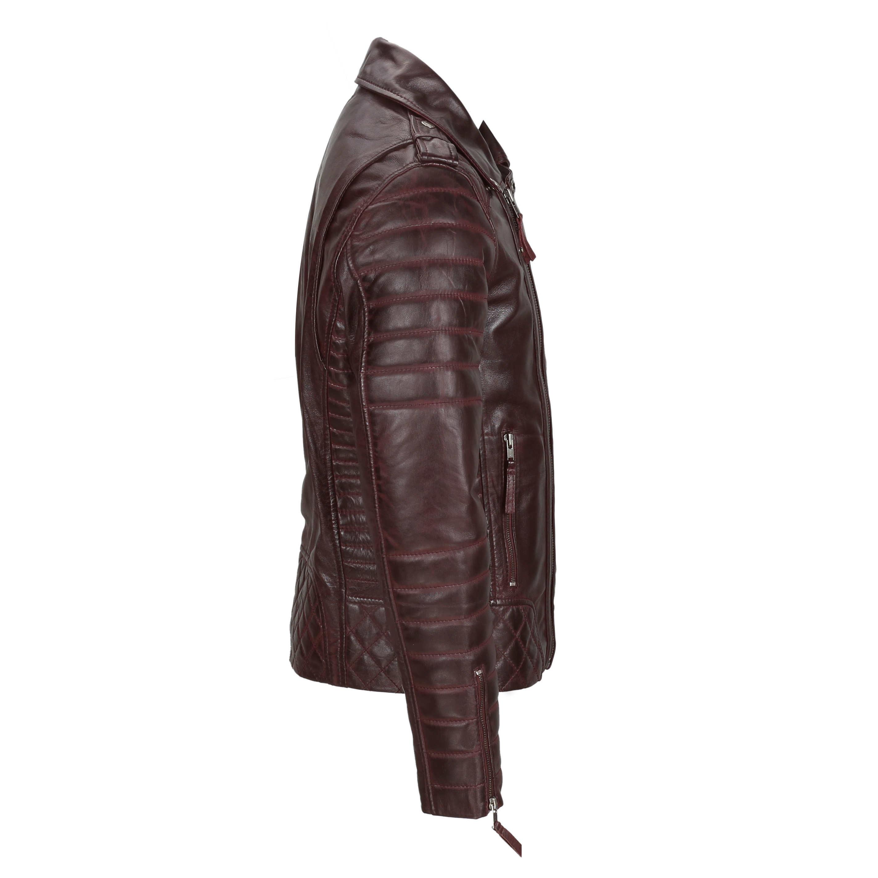 Mens Maroon Vintage Genuine Lambskin Real Leather Biker Jacket Slim Fit 2 Zips