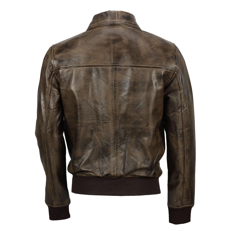 Da Uomo Morbido Vera Pelle Collare Bomber Stile Biker Vintage Nero Tan Brown