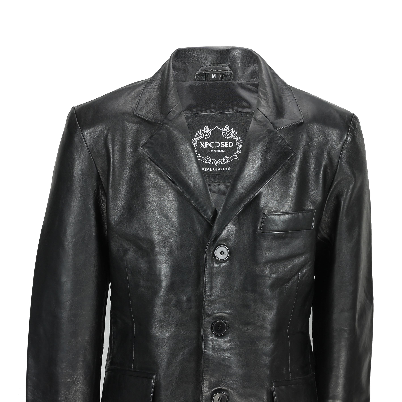 Mens Black /& Tan Real Soft Sheep Leather Blazer Mid Length Vintage Jacket Coat