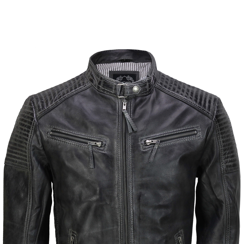 Mens Real Leather Jacket Retro Vintage Style Biker Smart Casual Slim Fit Bomber