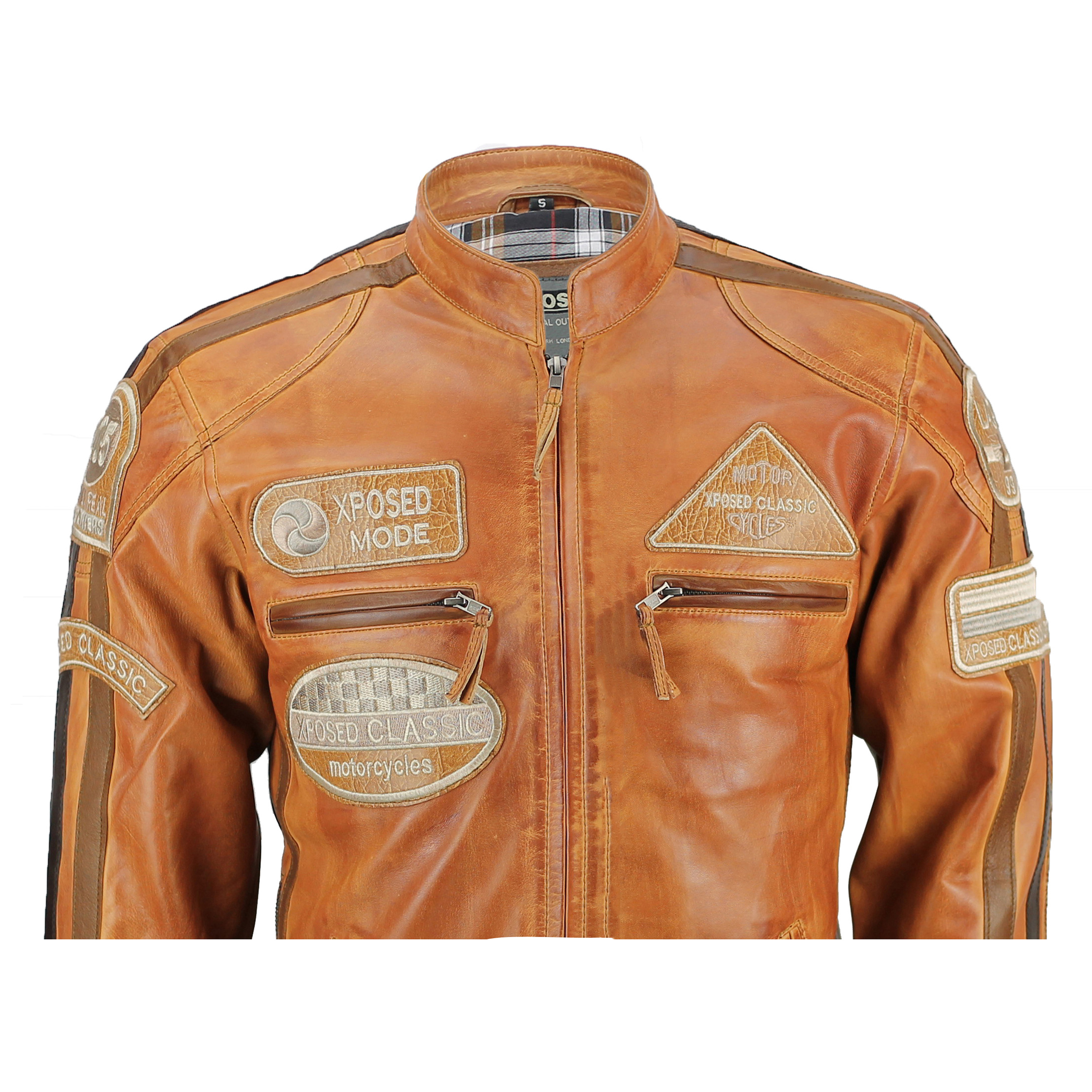Retro brown leather motorcycle jacket