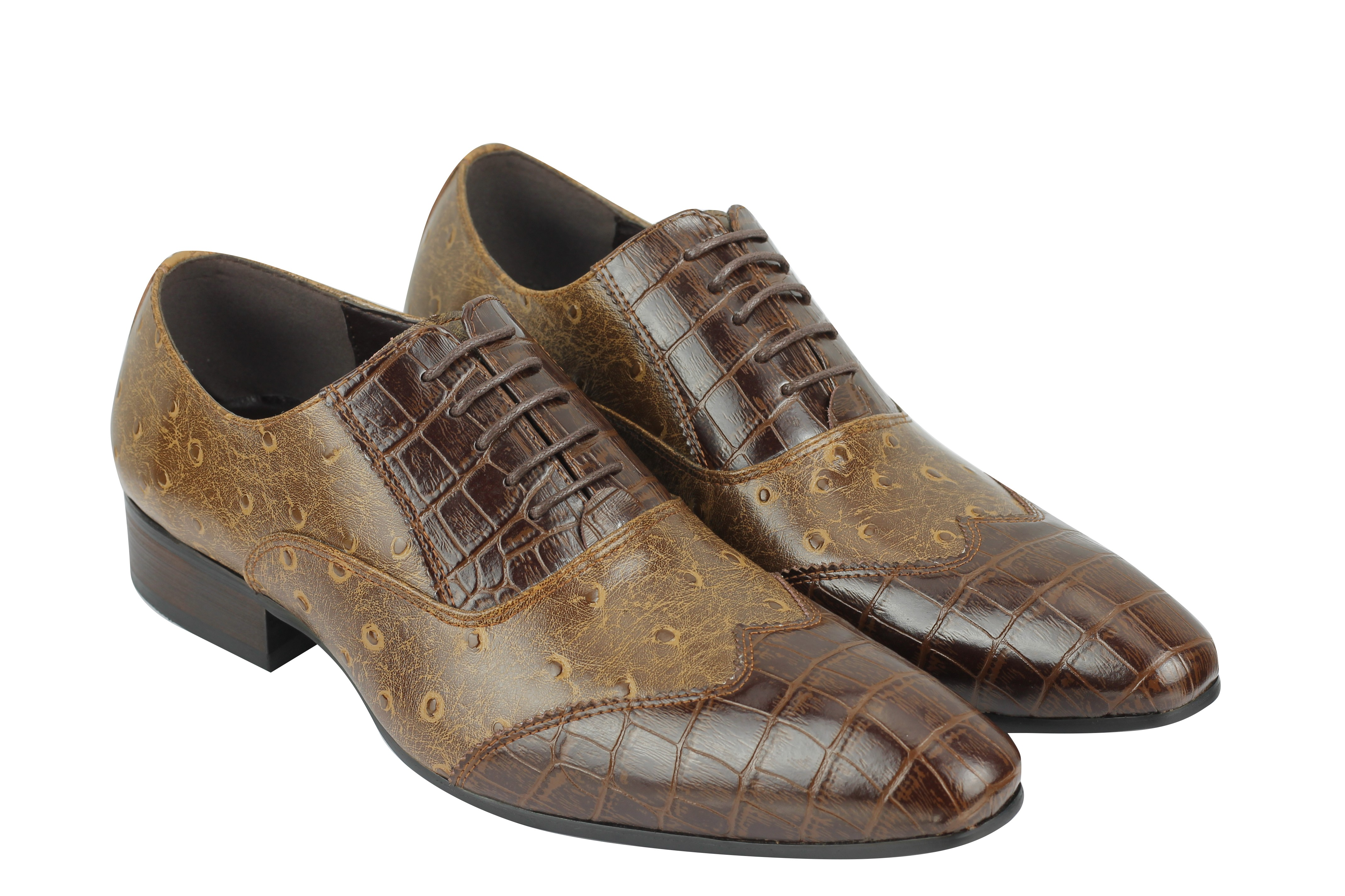 Mens Real Leather Shoes Snake Print Black Brown Smart Formal Office Lace Oxfords