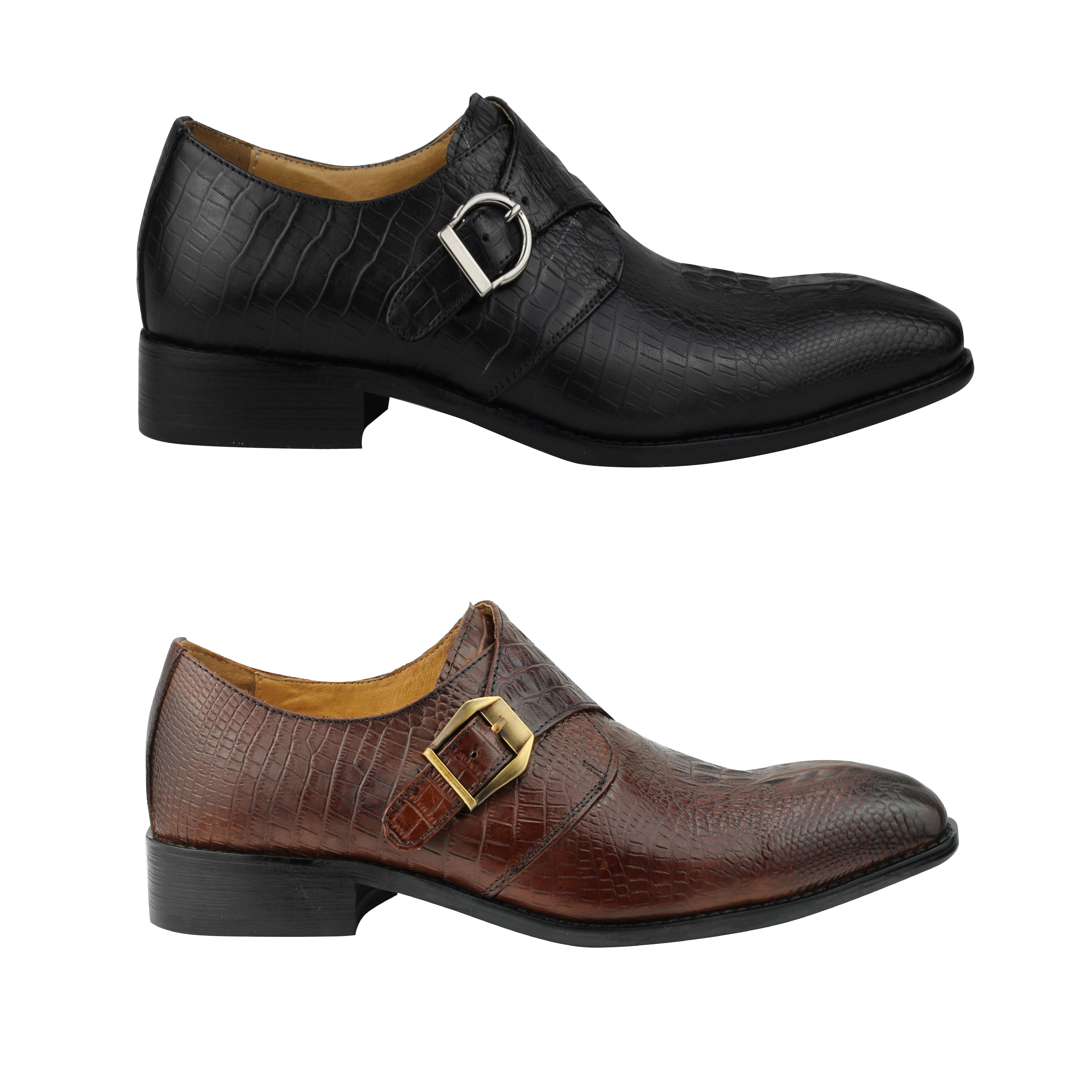 dc23ec4e748 Men Black Brown Leather Snakeskin Effect Monk Loafer Shoes 6.5 7 8 9 ...