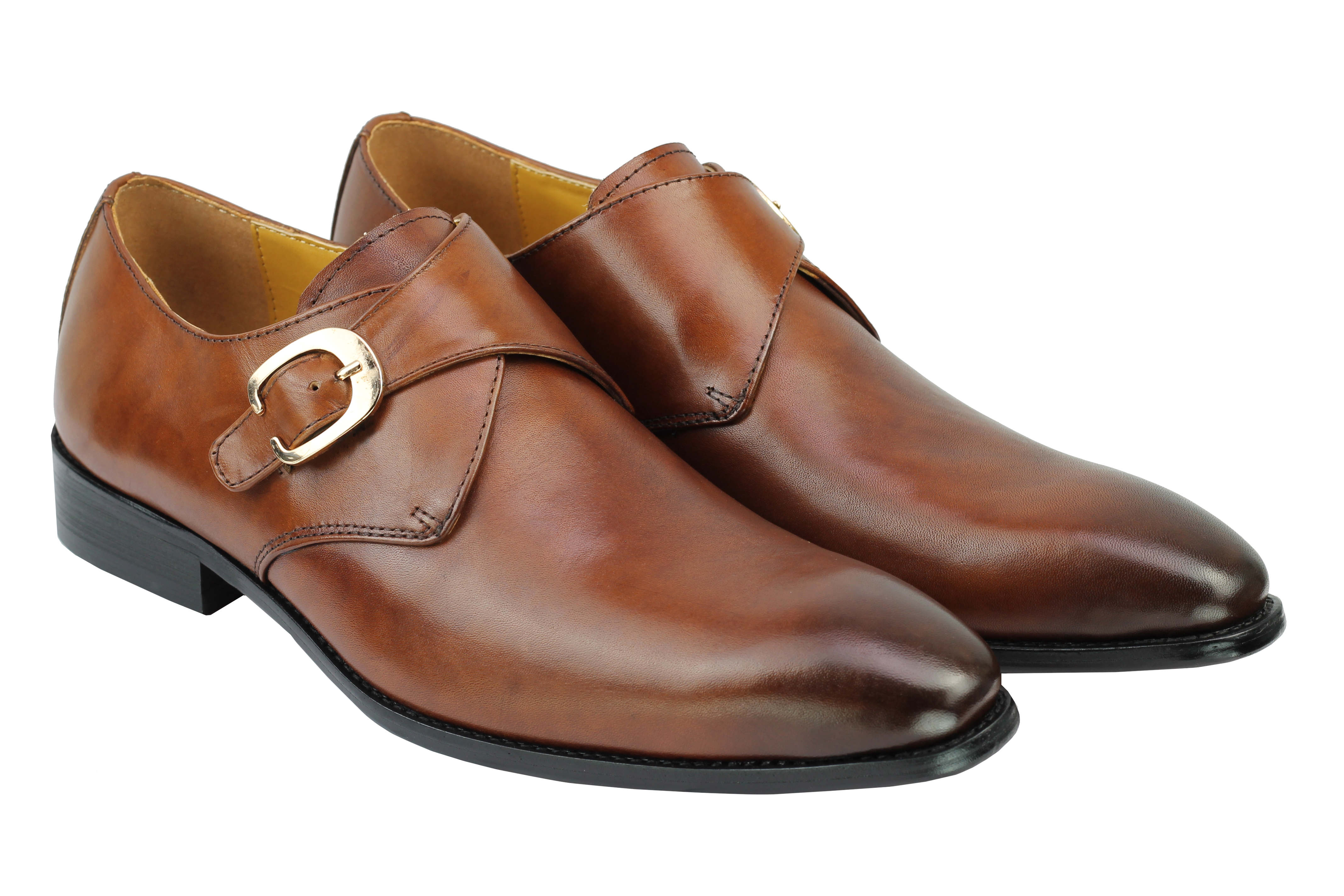 Mens Monk Strap Oxford Loafers Polished Genuine Leather Smart Office Dress Shoes