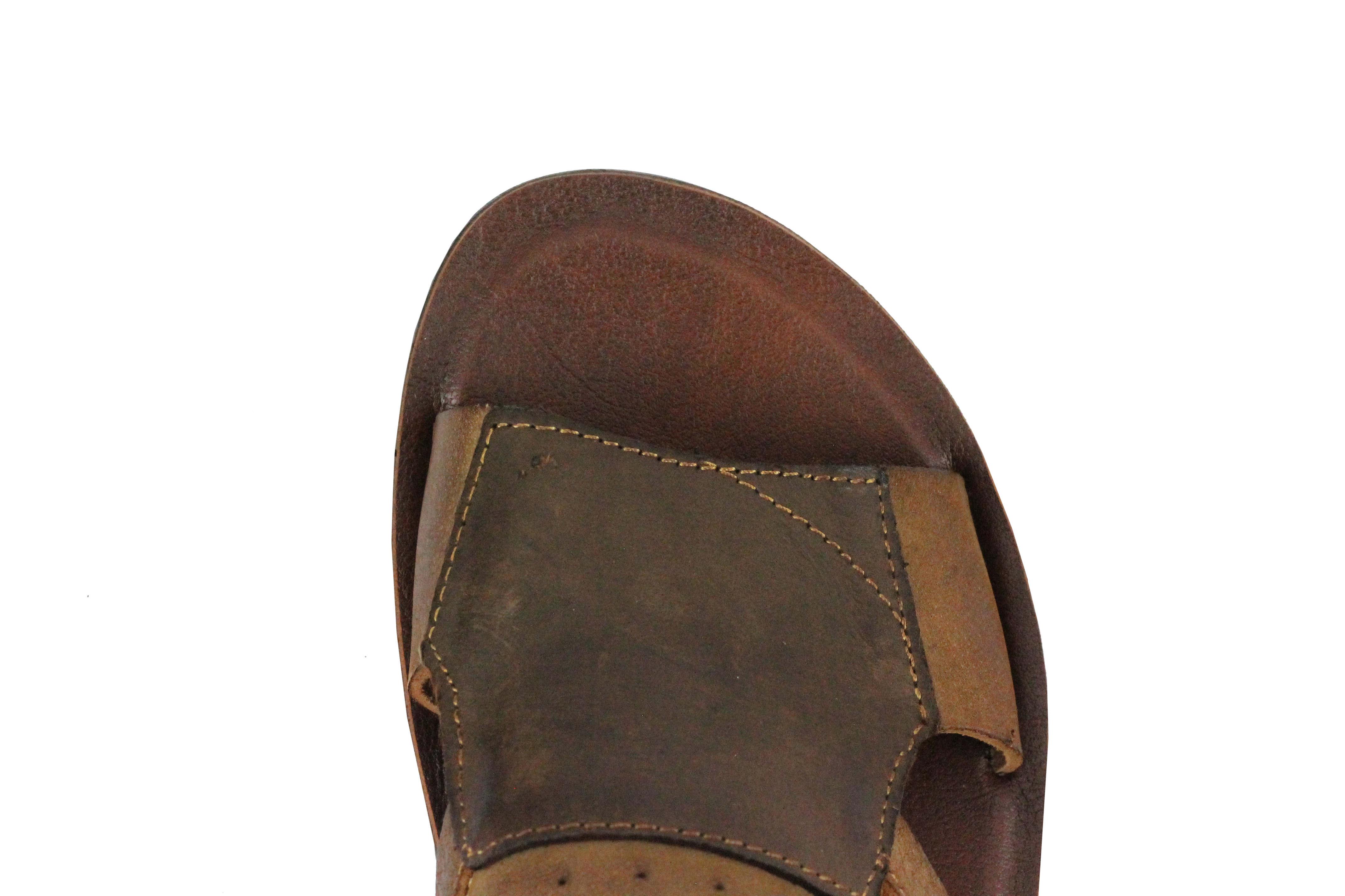 Para hombres Cuero Genuino Real Sandalias Marrón Zapatos Para Caminar Verano Correa Ajustable