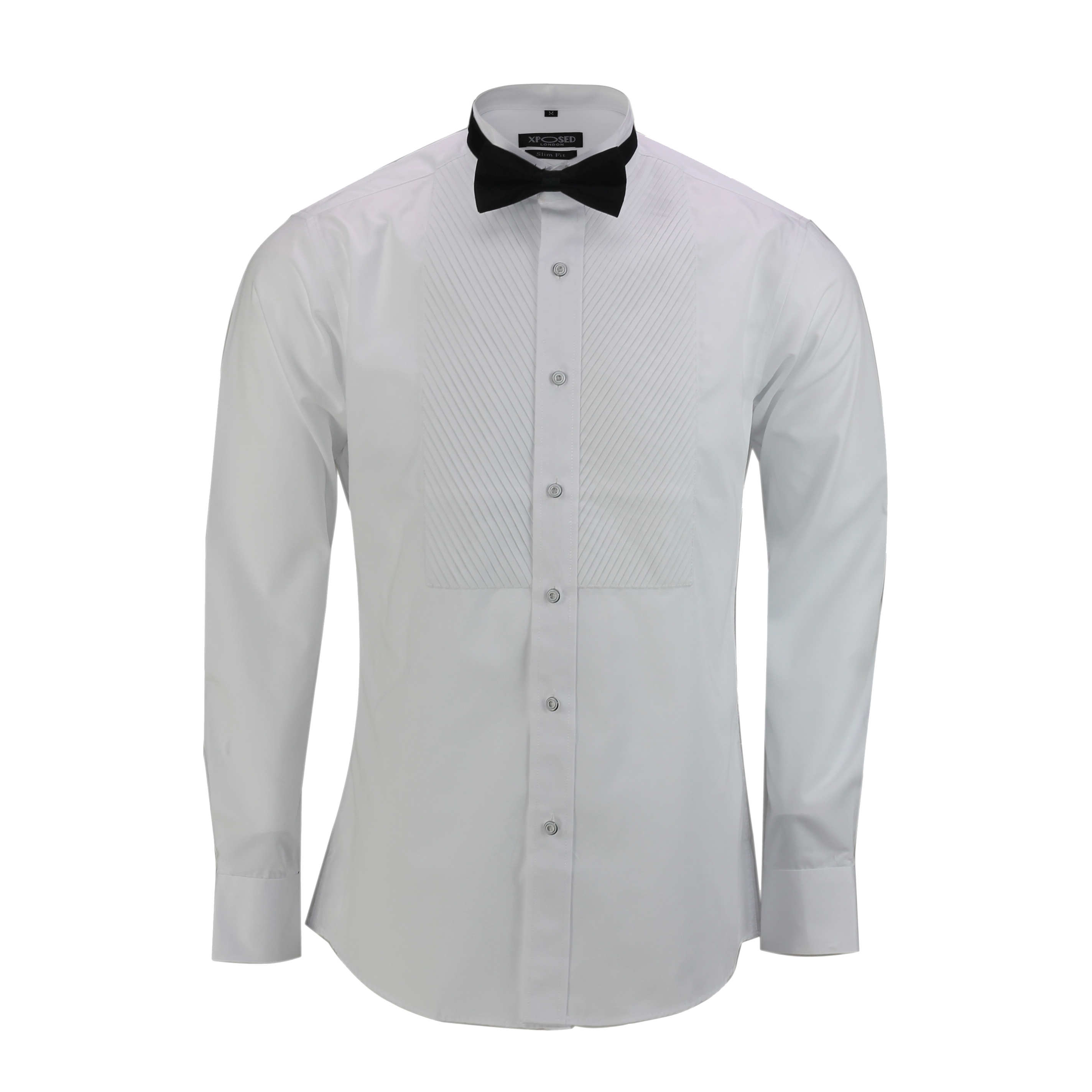 Details about  /Mens Black White Dress Bow Tie Shirt Slim Fit Pleated Tux Smoking Wedding Prom