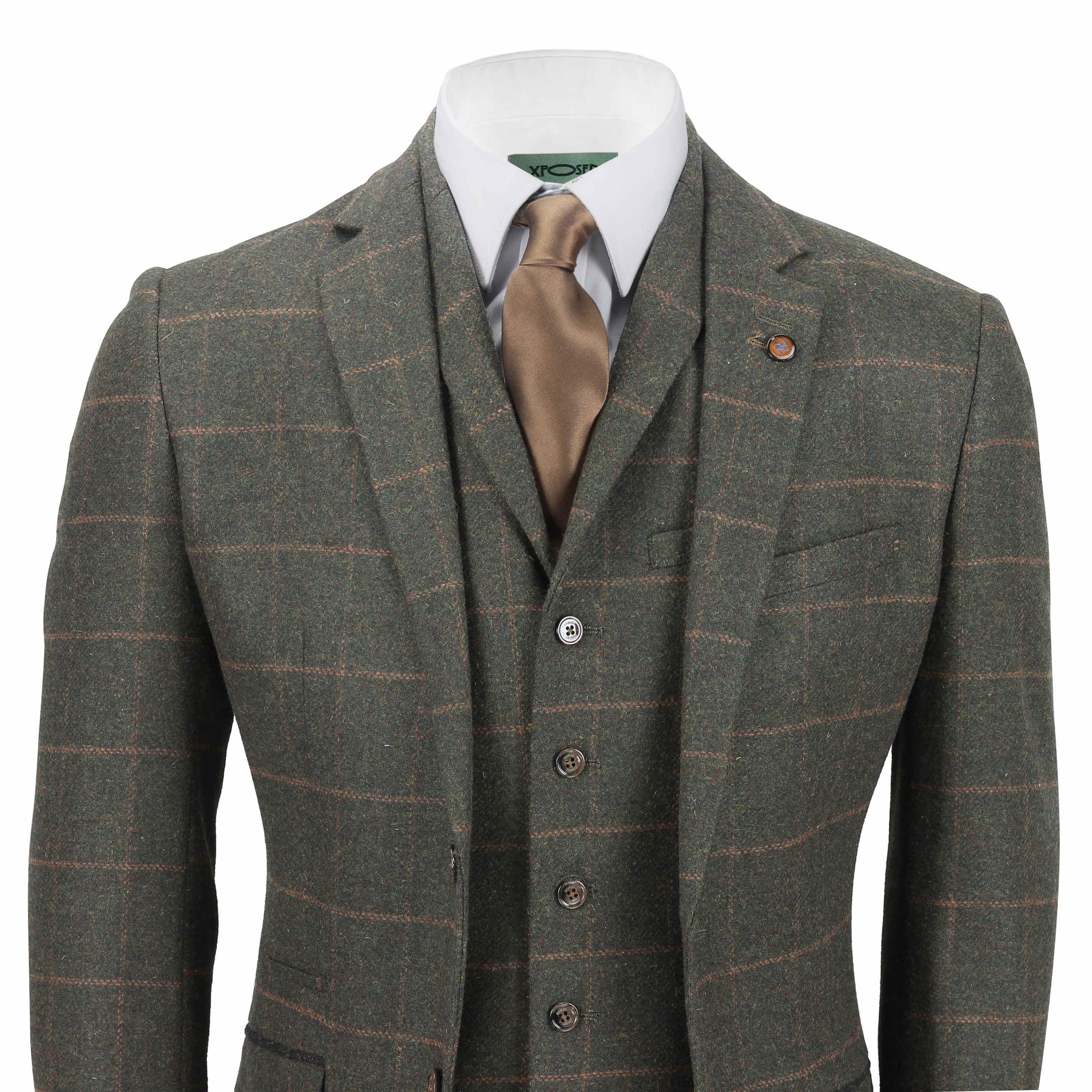 Wool Man Sute Wedding: Mens 3 Piece Tweed Wool Suit Green Vintage Herringbone