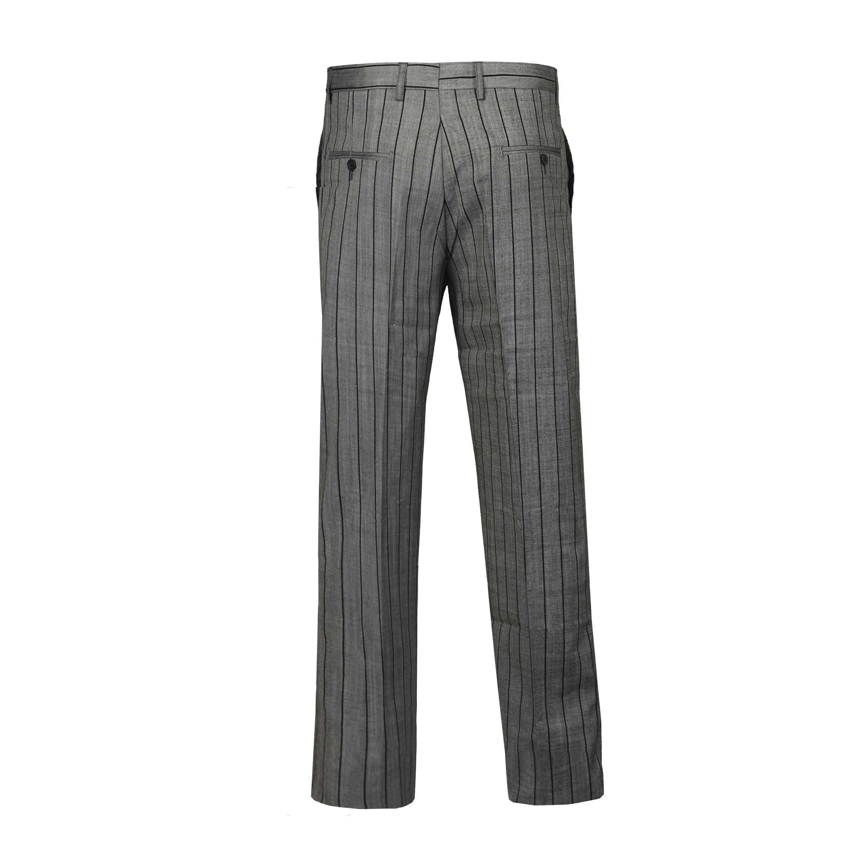 Pantaloni uomo tuta di Lino Misto Cotone Strisce Smart Formali Abito Classico Pantaloni