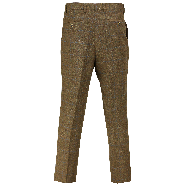 Pantaloni Uomo Tweed Vintage spina di pesce controlli Slim Fit Grigio Marrone Verde Pantaloni