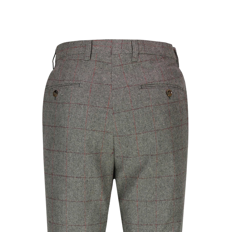 Mens Vintage 1920s Double Breasted Tweed Herringbone Check Waistcoat or Trousers