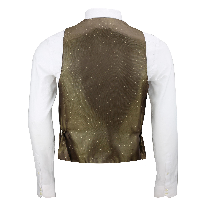 New Mens Tweed Waistcoat Herringbone Check Velvet Trim Vintage Formal Fit Vest