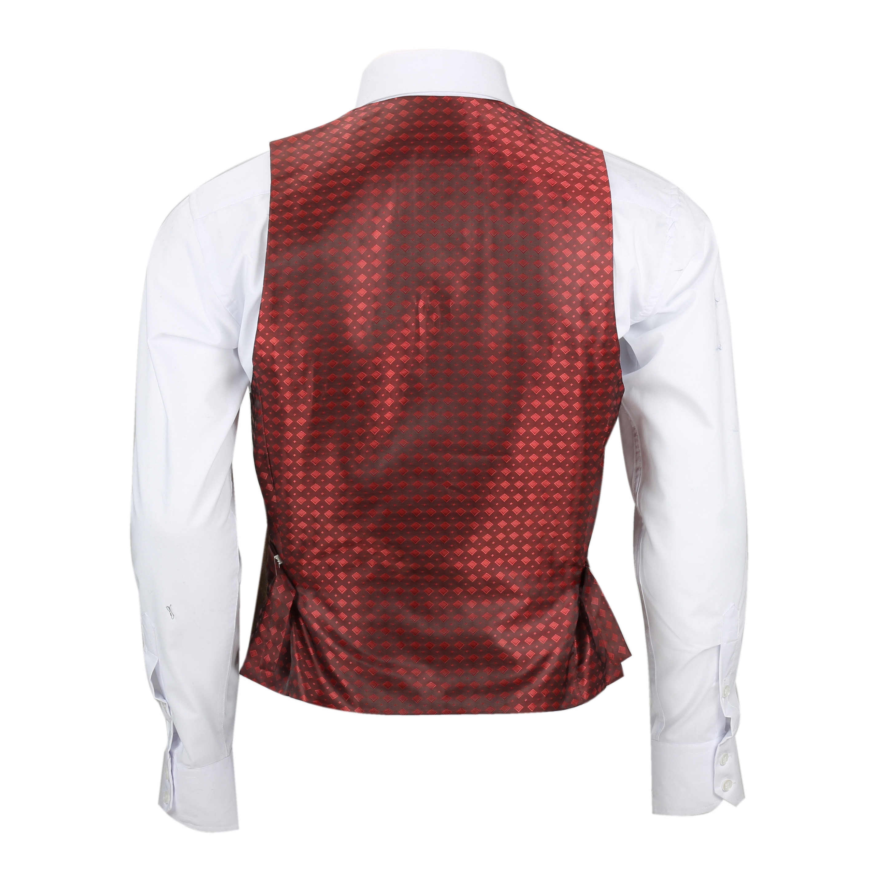 Mens Double Breasted Waistcoat Classic Low U Cut Herringbone Tweed Check Vest