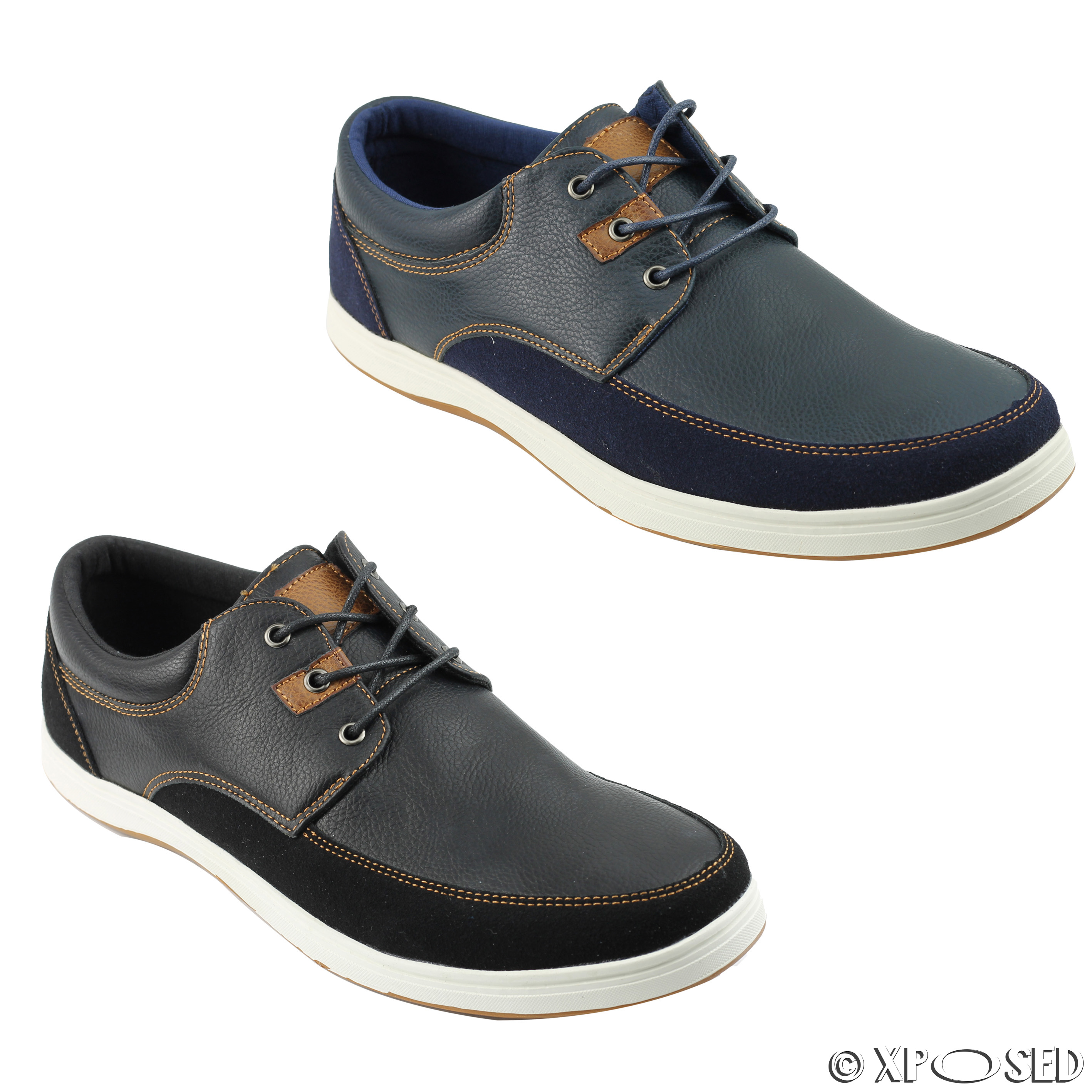 mens leather look smart casual sneakers lace up shoes