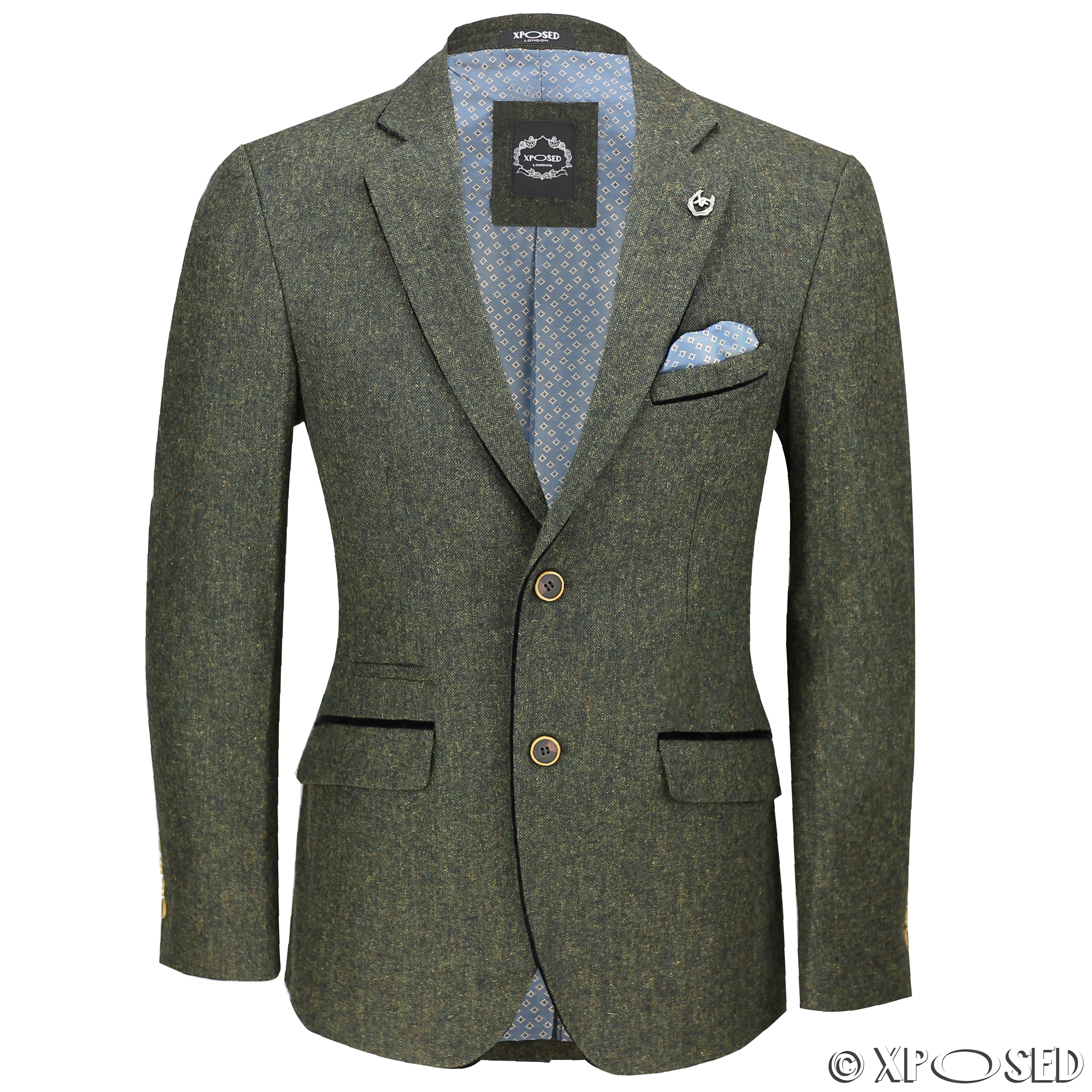 mens vintage tweed blazer in tan green blue designer formal slim fit suit jacket ebay. Black Bedroom Furniture Sets. Home Design Ideas