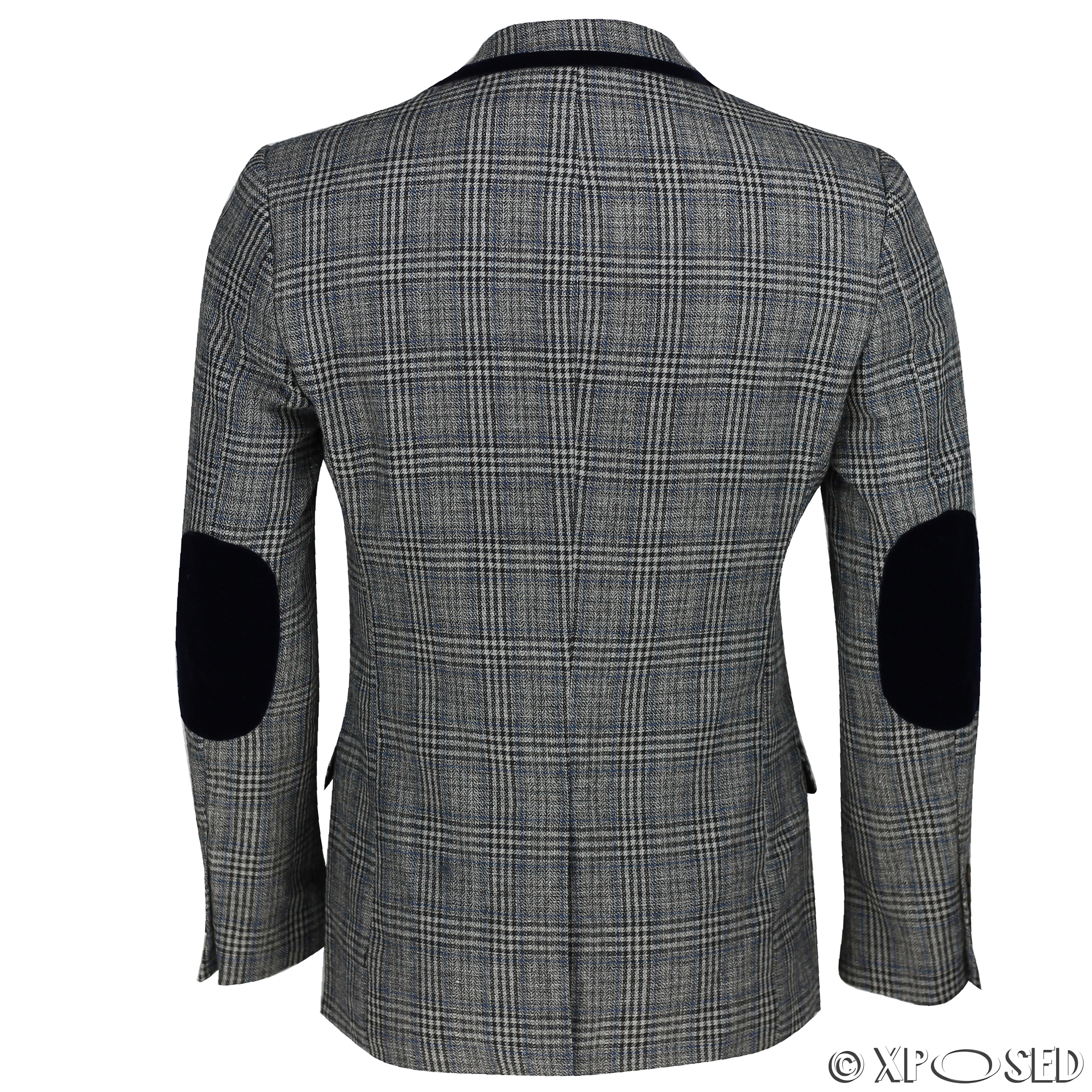 Blazers Jackets Mens: Mens Vintage Tweed Herringbone Check Blazer Velvet Elbow