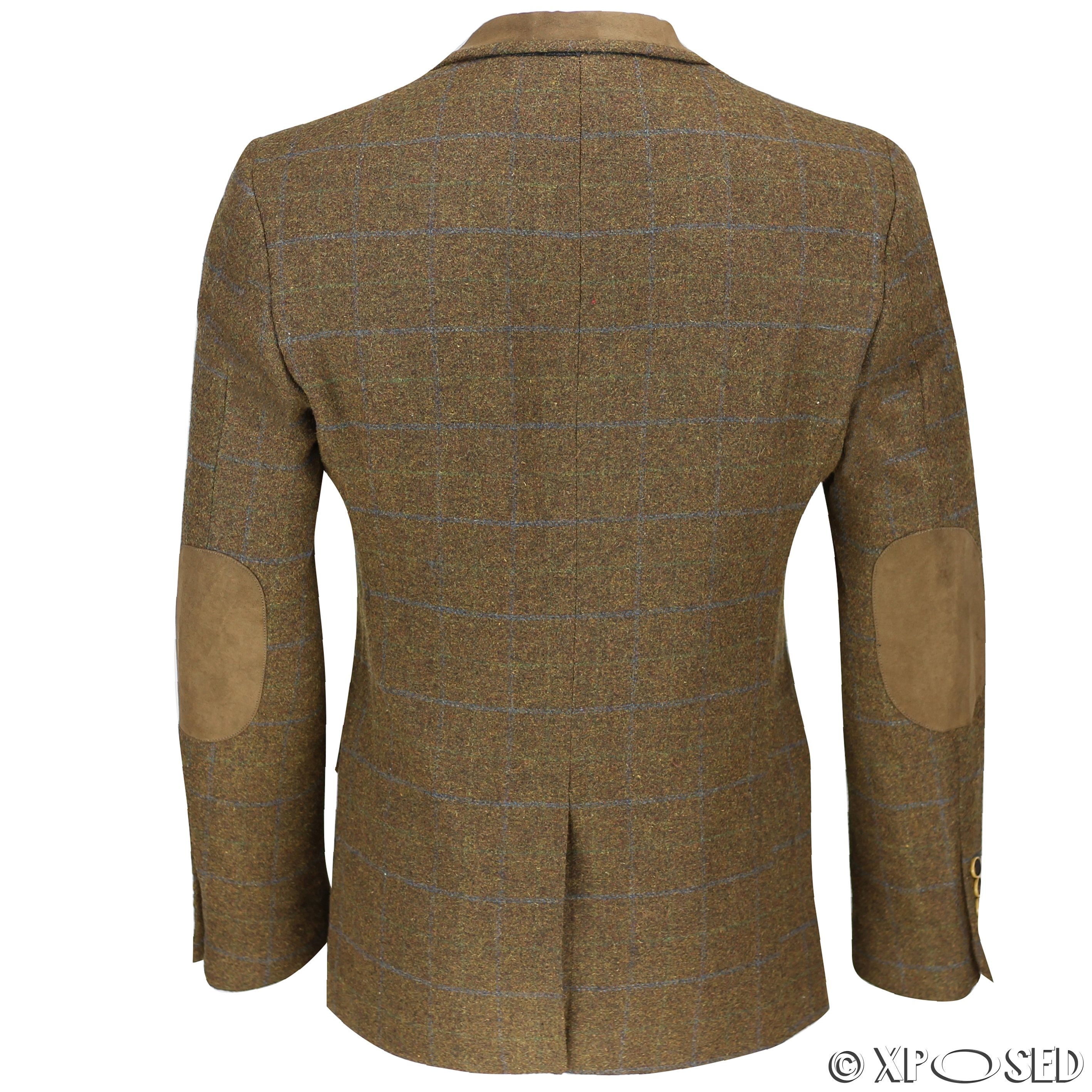 Blazers Jackets Mens: Mens Vintage Tweed Herringbone Check Blazer In Grey Brown