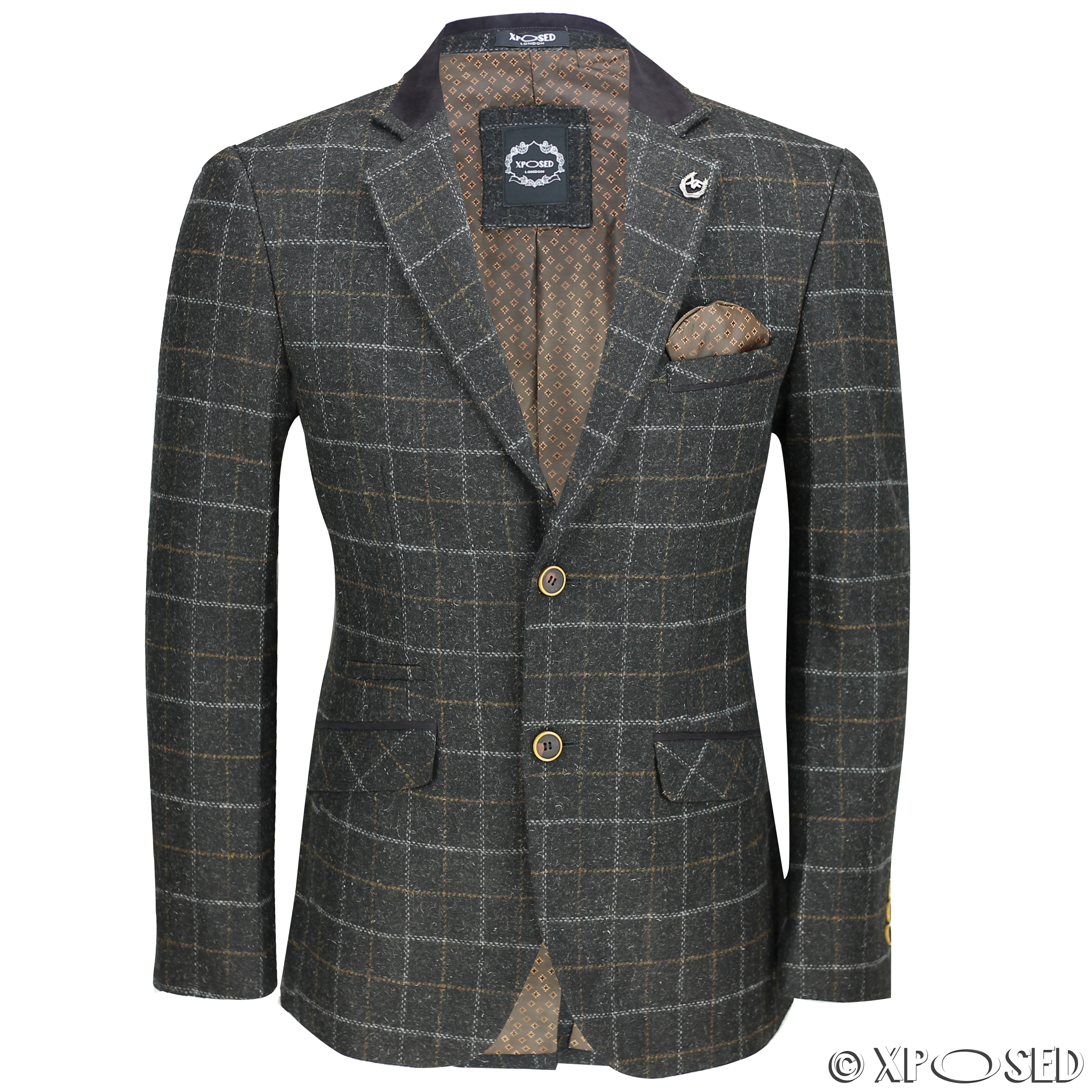mens vintage tweed herringbone check blazer in grey brown green designer jacket ebay. Black Bedroom Furniture Sets. Home Design Ideas