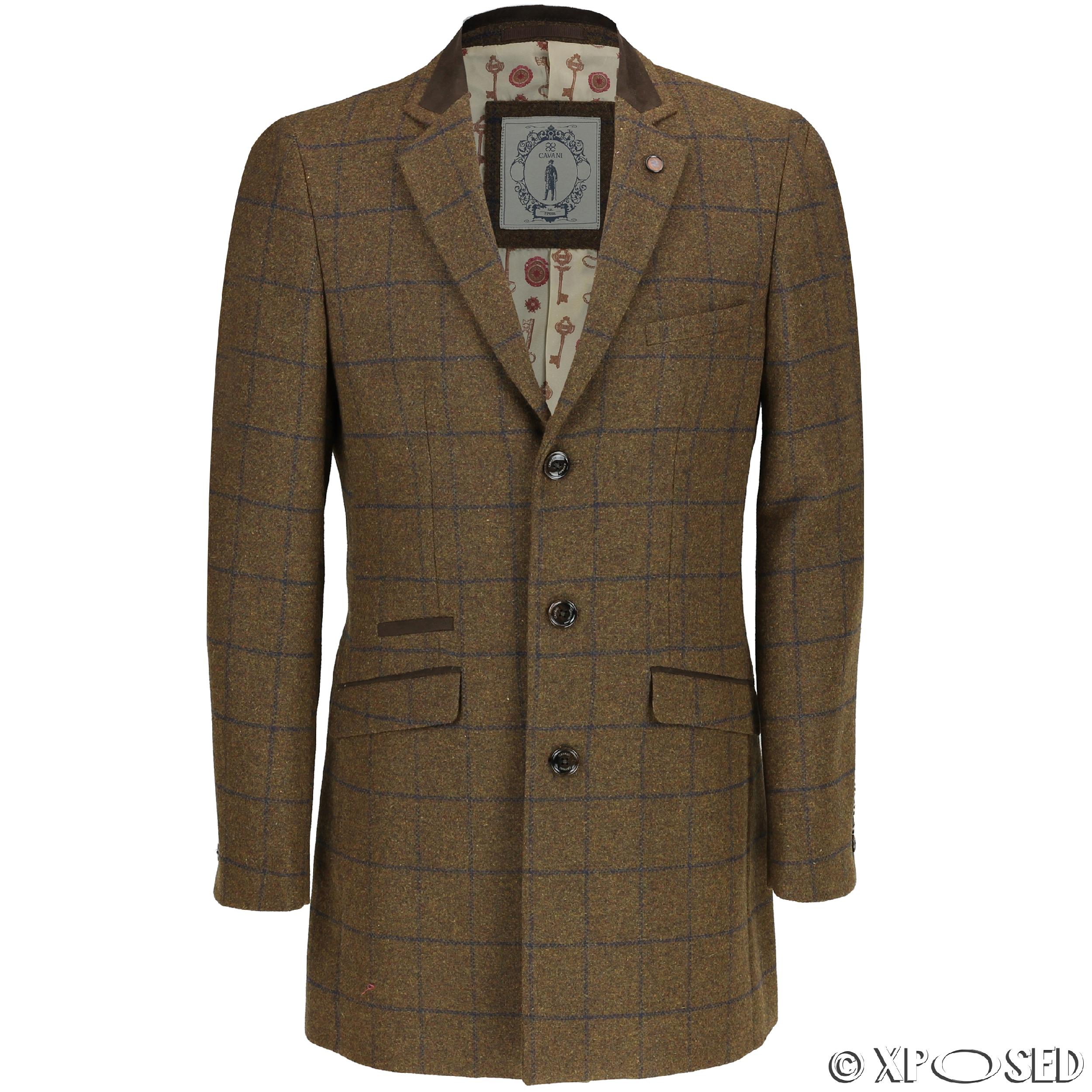 Men S Grey Herringbone Overcoat Grey Pocket Square Grey Crew Neck