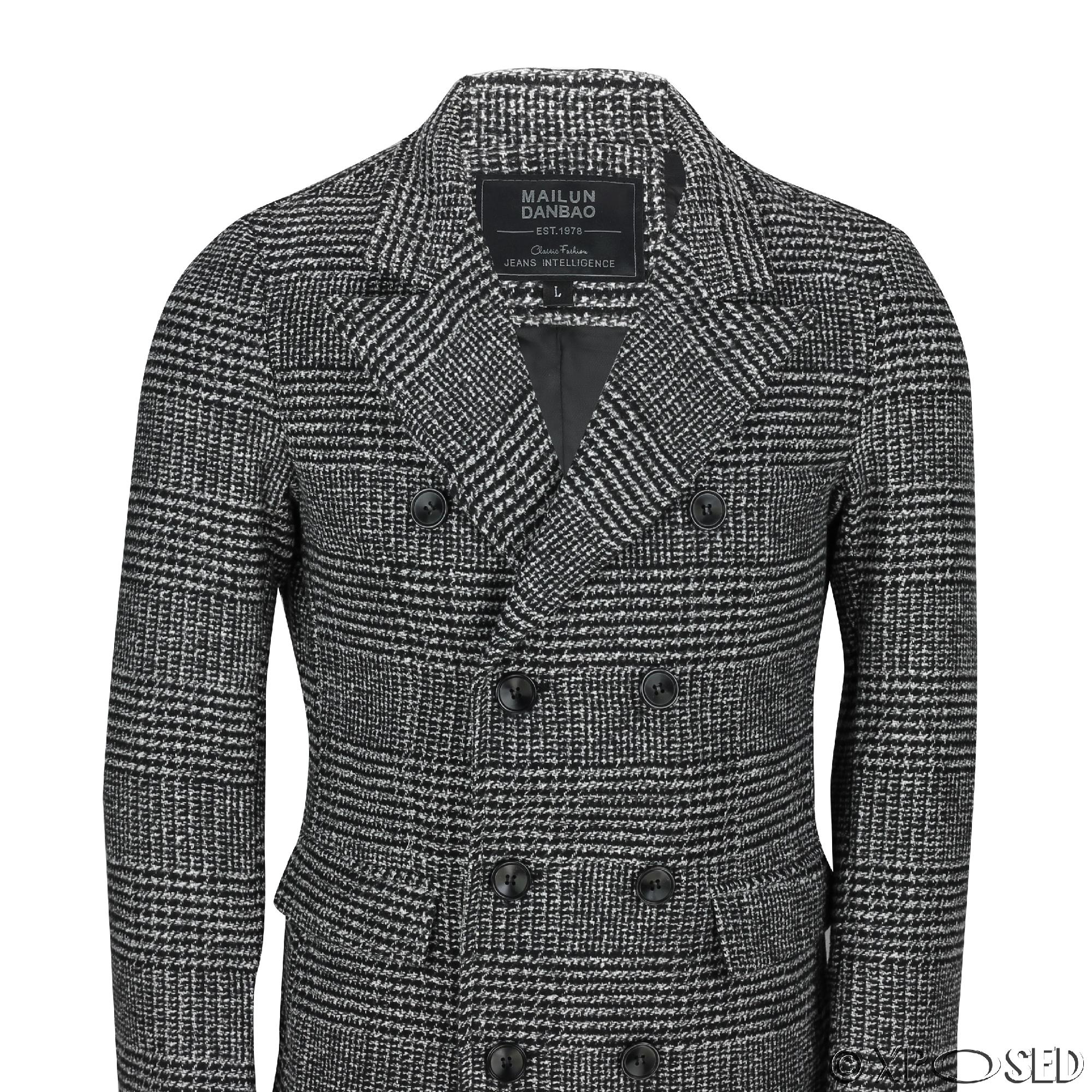 Mens check overcoat