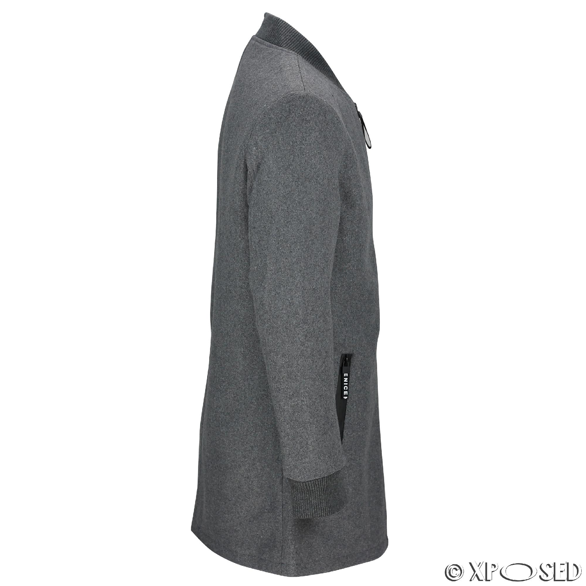 NUOVA linea uomo giacca sartoriale dal taglio lungo Bomber Misto Lana Baseball Cappotto Slim Fit in nero grigio