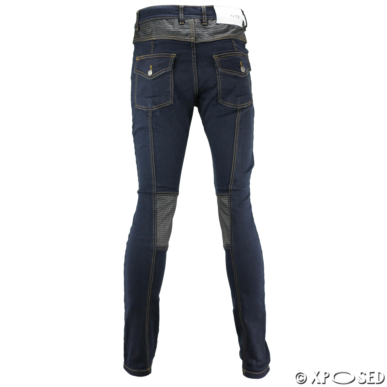 new mens skinny jeans leather look knee panel biker style super stretch denim ebay. Black Bedroom Furniture Sets. Home Design Ideas