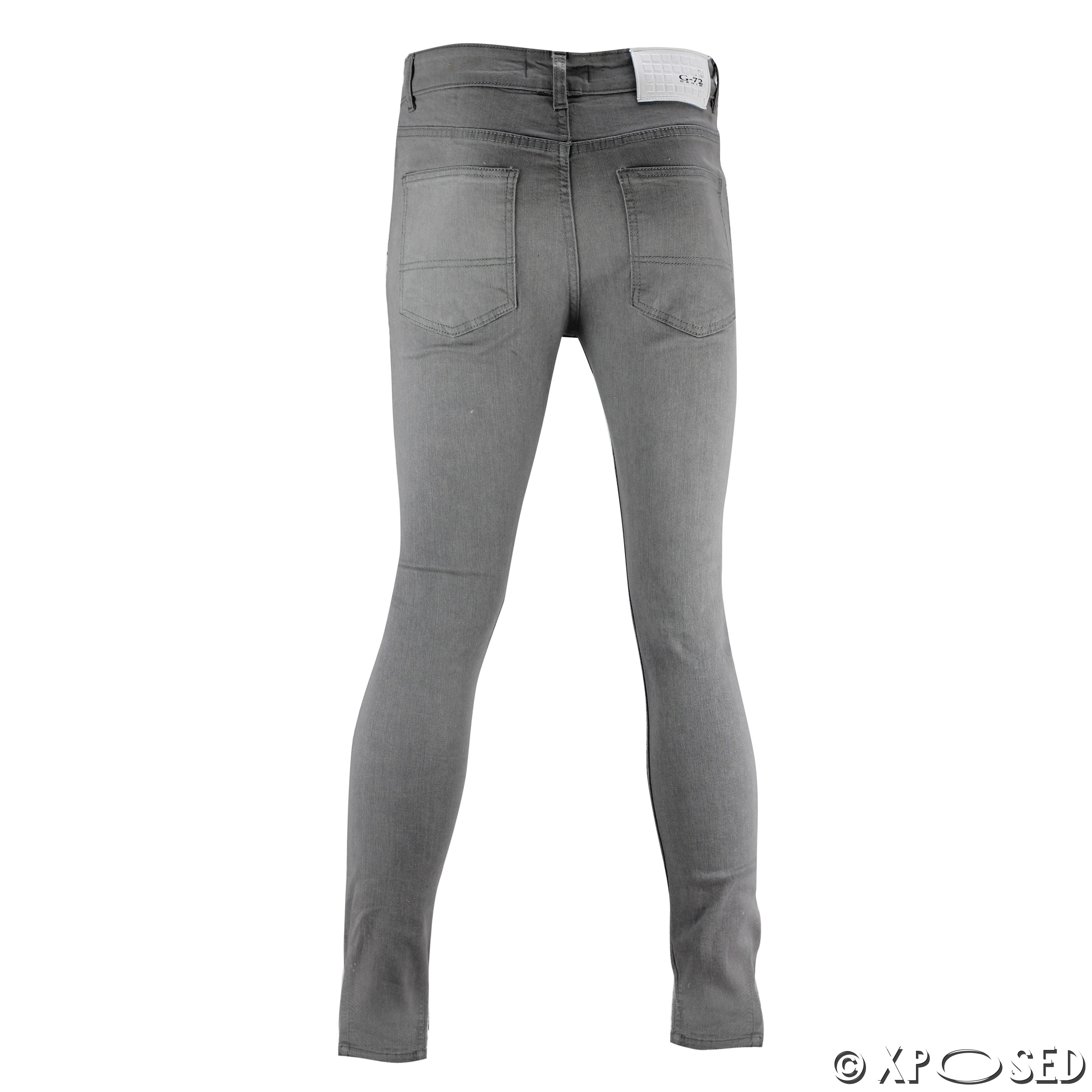New Mens Skinny Jeans Super Stretch Ripped Cutaway Extreme Open ...