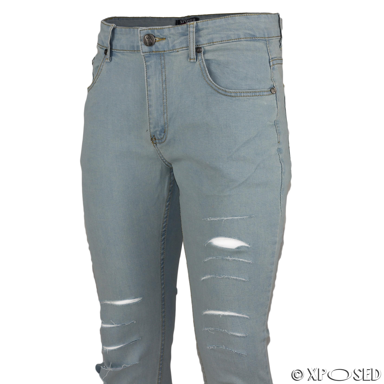 mens super stretch ripped cut jeans skinny slim fit