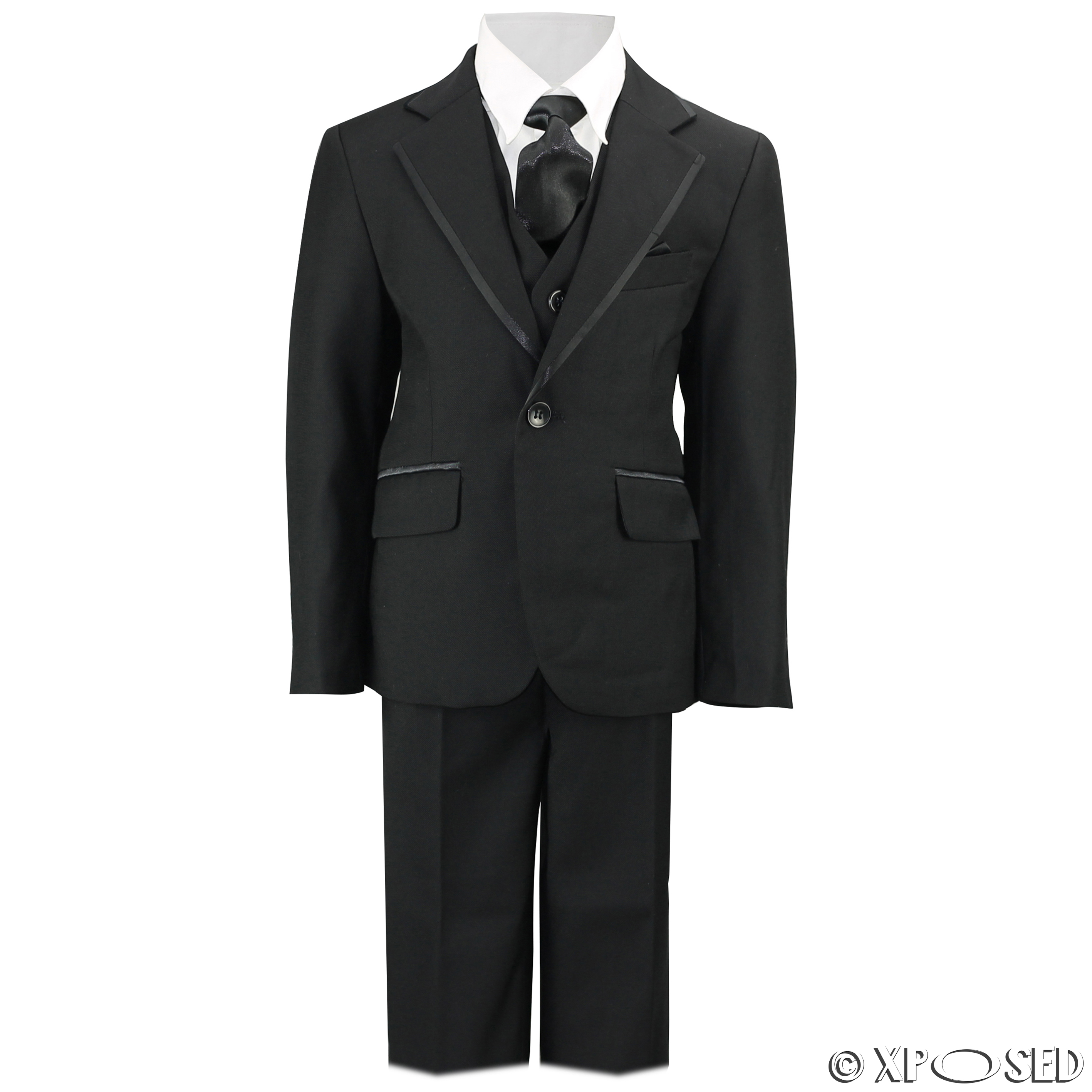 3 piece set includes jacket, vest and pants. Shirt, ties and hanky not included. Shirt, ties and hanky not included. Yanlu Boy's Tuxedos Toddler Formal Suits Set Kids Blue Black Slim Fit Suit Weddings.