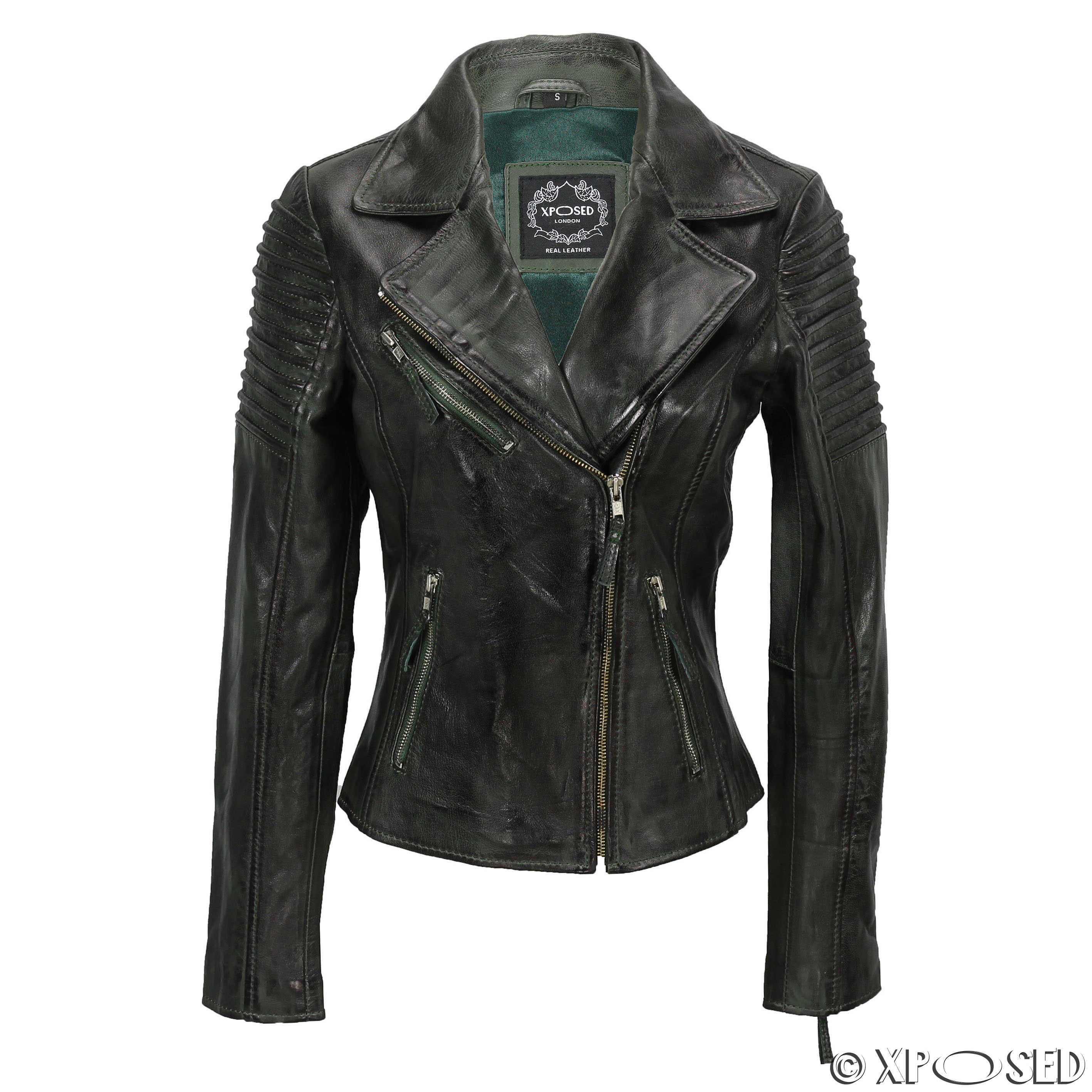 Womens Vintage Slim Fitted Soft Real Leather Ladies Biker Jacket ...