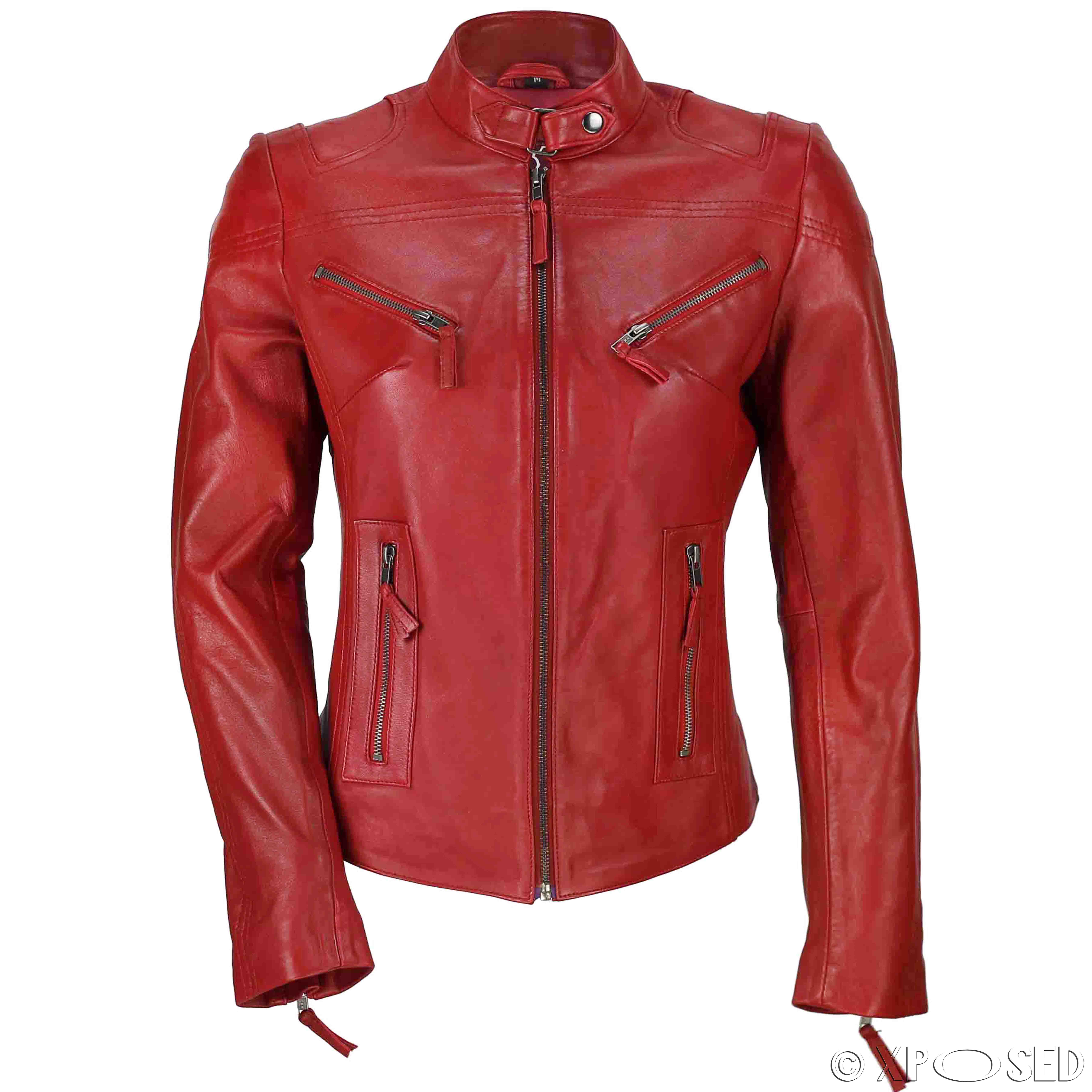 ladies red leather jacket - photo #30