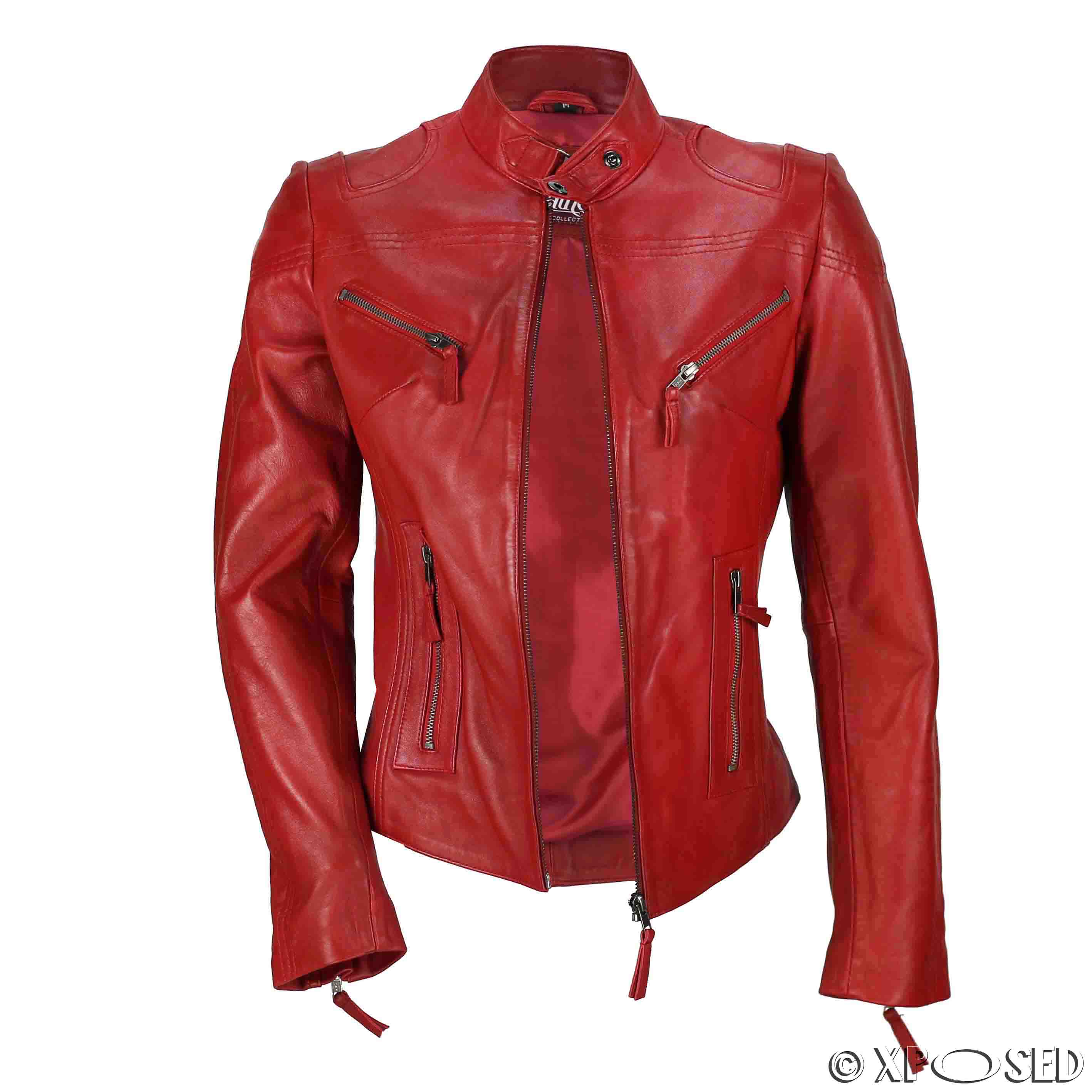 ladies red leather jacket - photo #6