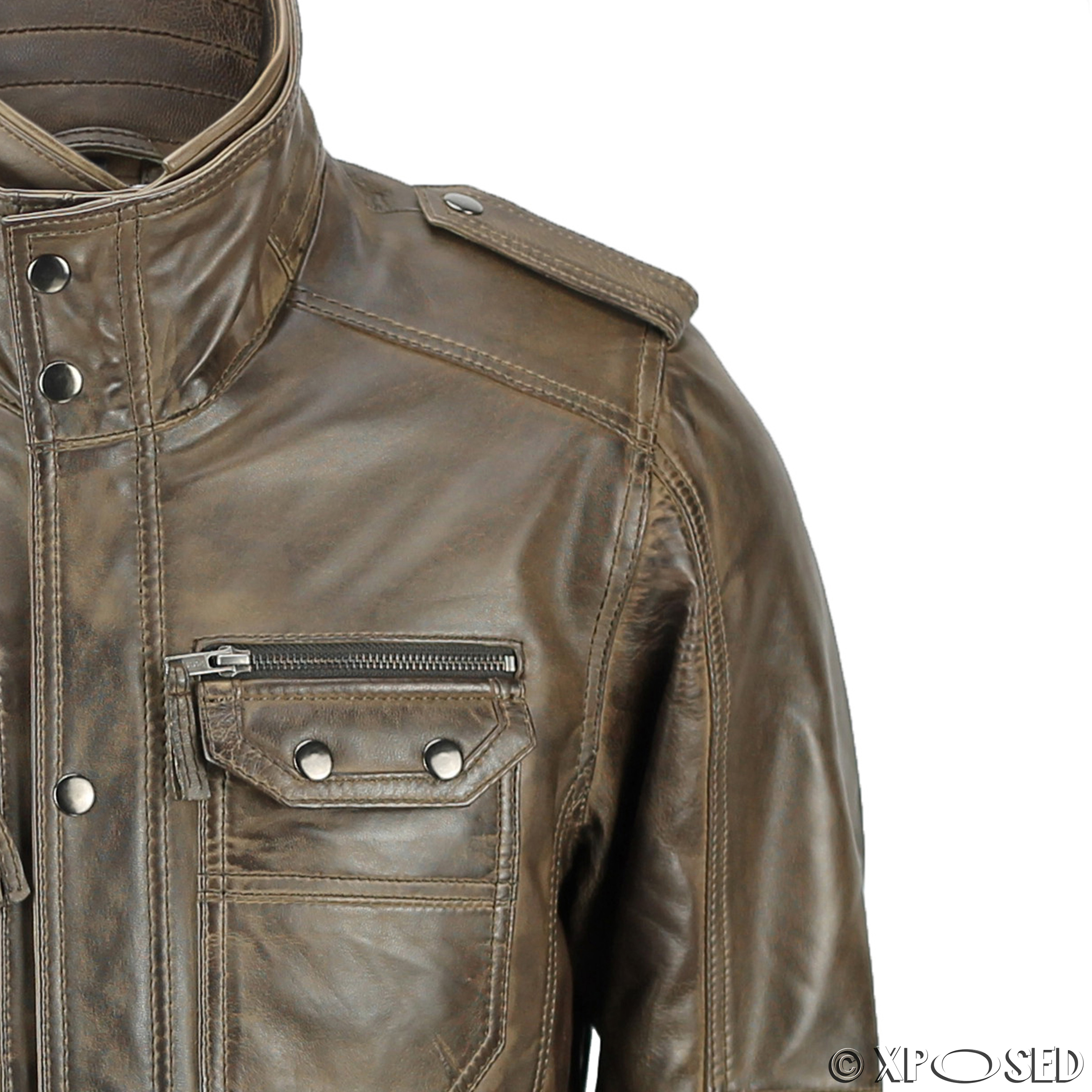 New Mens Retro Real Leather Washed Tan Brown Vintage Military Coat ...