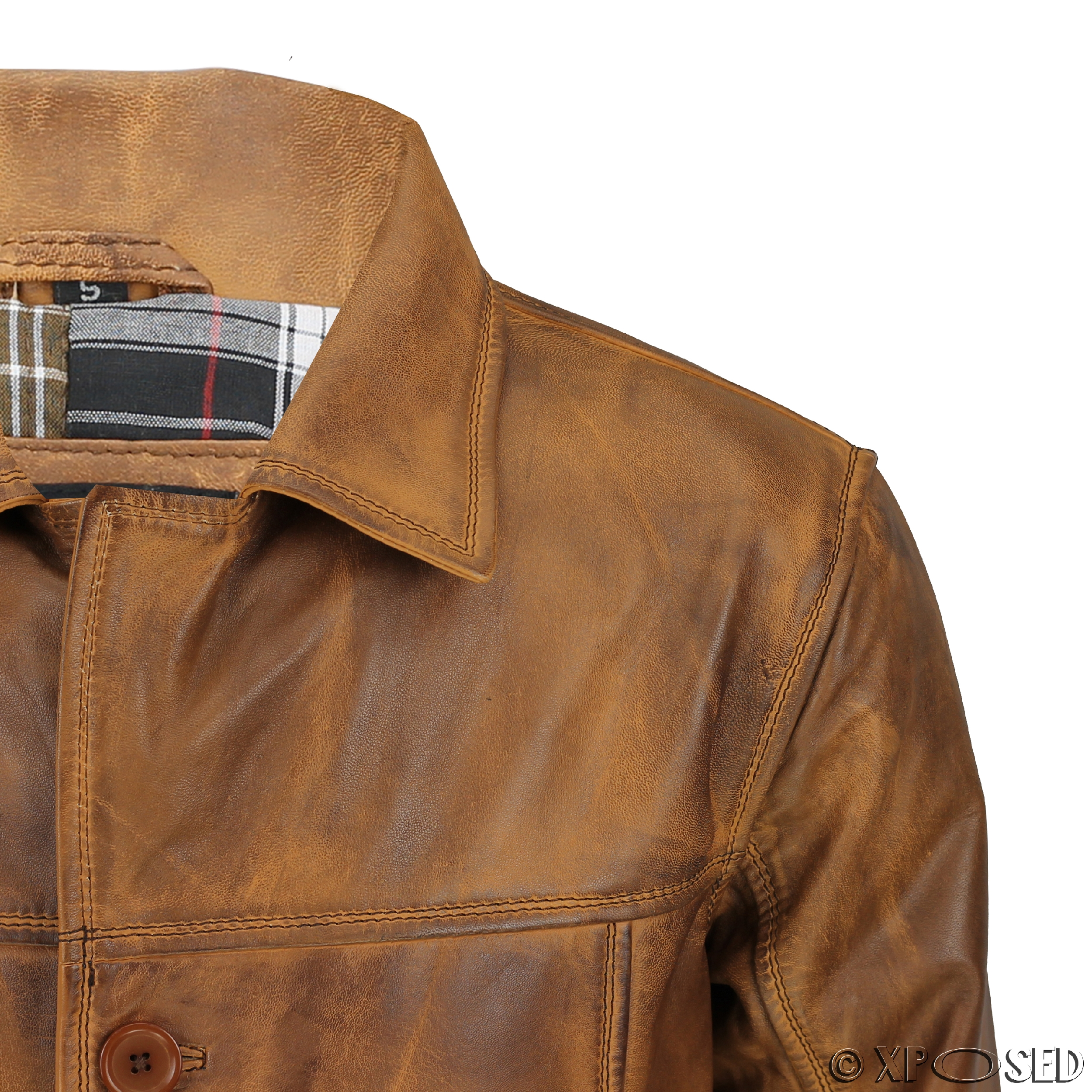 Mens Vintage Real Leather Black Tan Brown Classic Reefer Jacket ...
