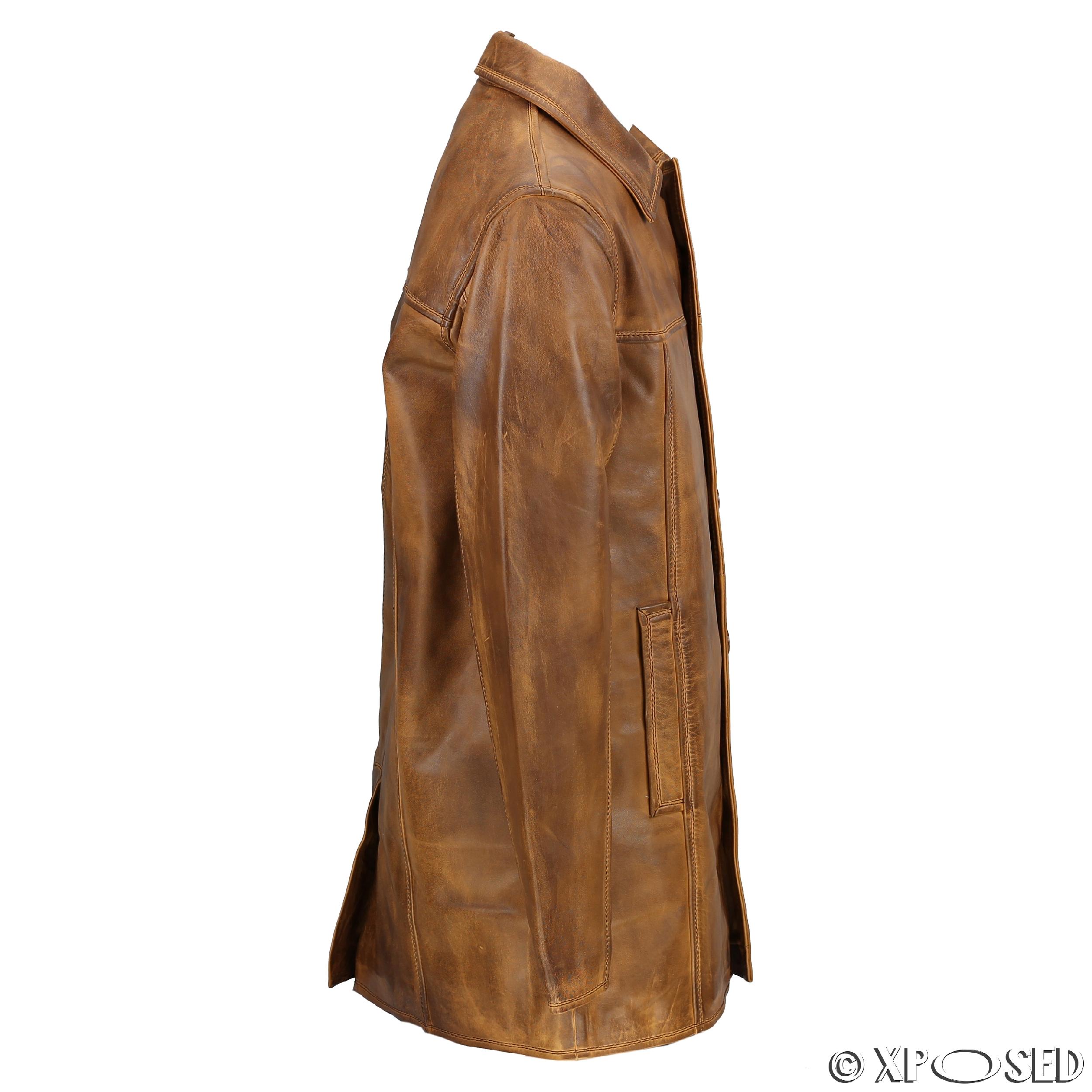 Leather reefer jacket