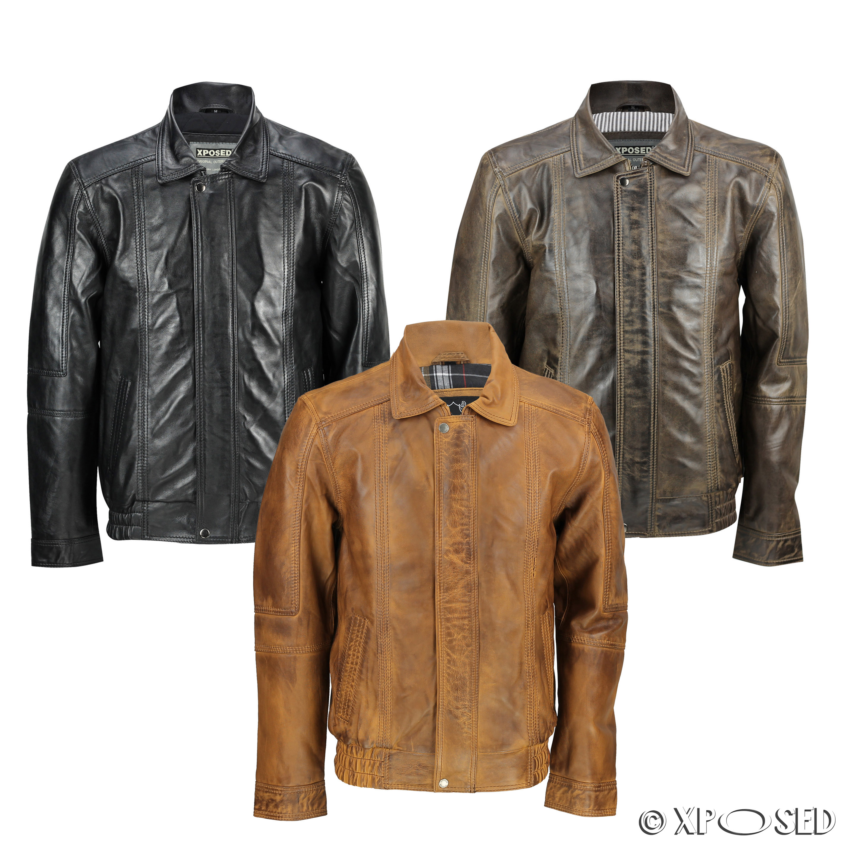 Mens Real Leather Vintage Classic Blouson Collar Bomber ...