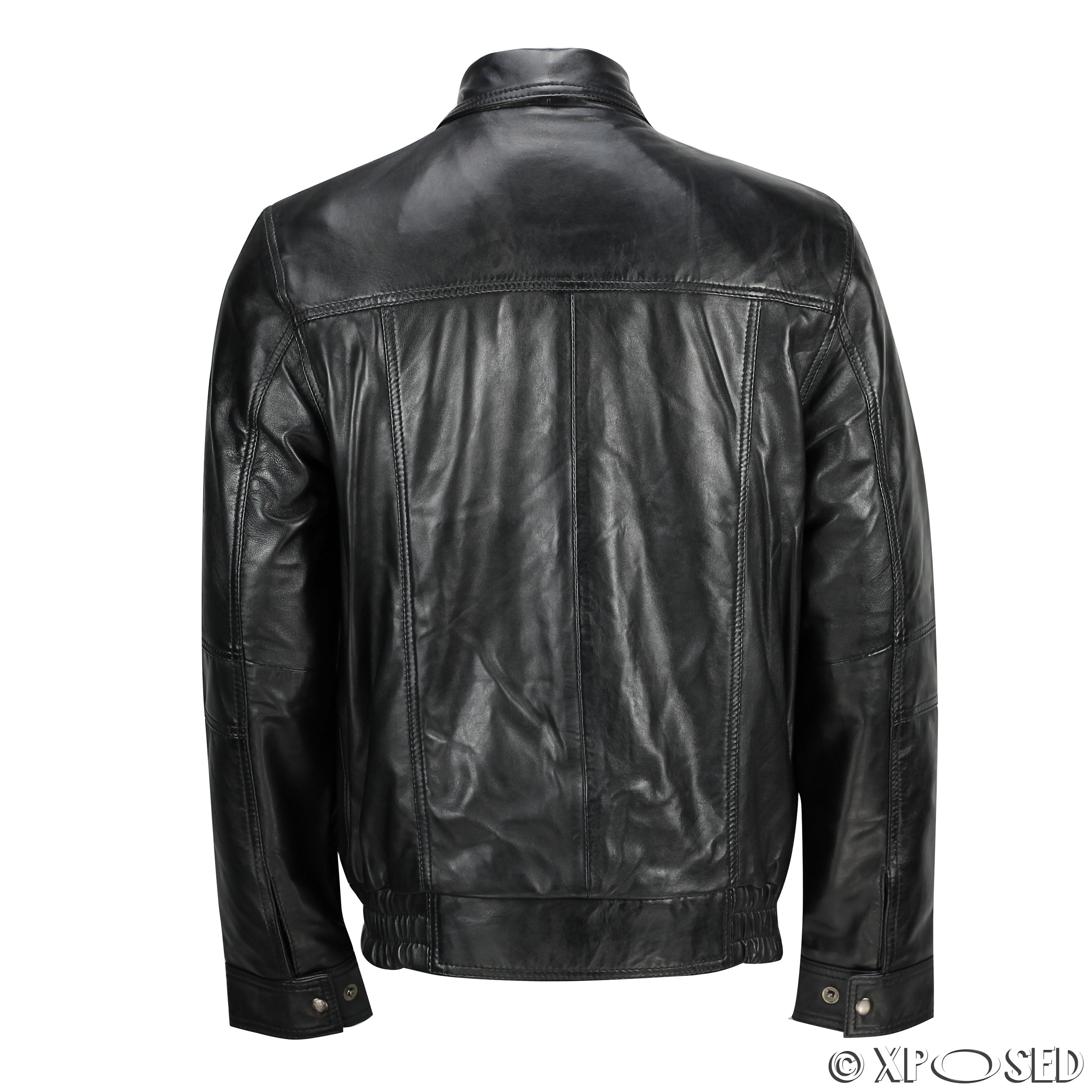 Mens Real Leather Vintage Classic Blouson Collar Bomber Jacket ...