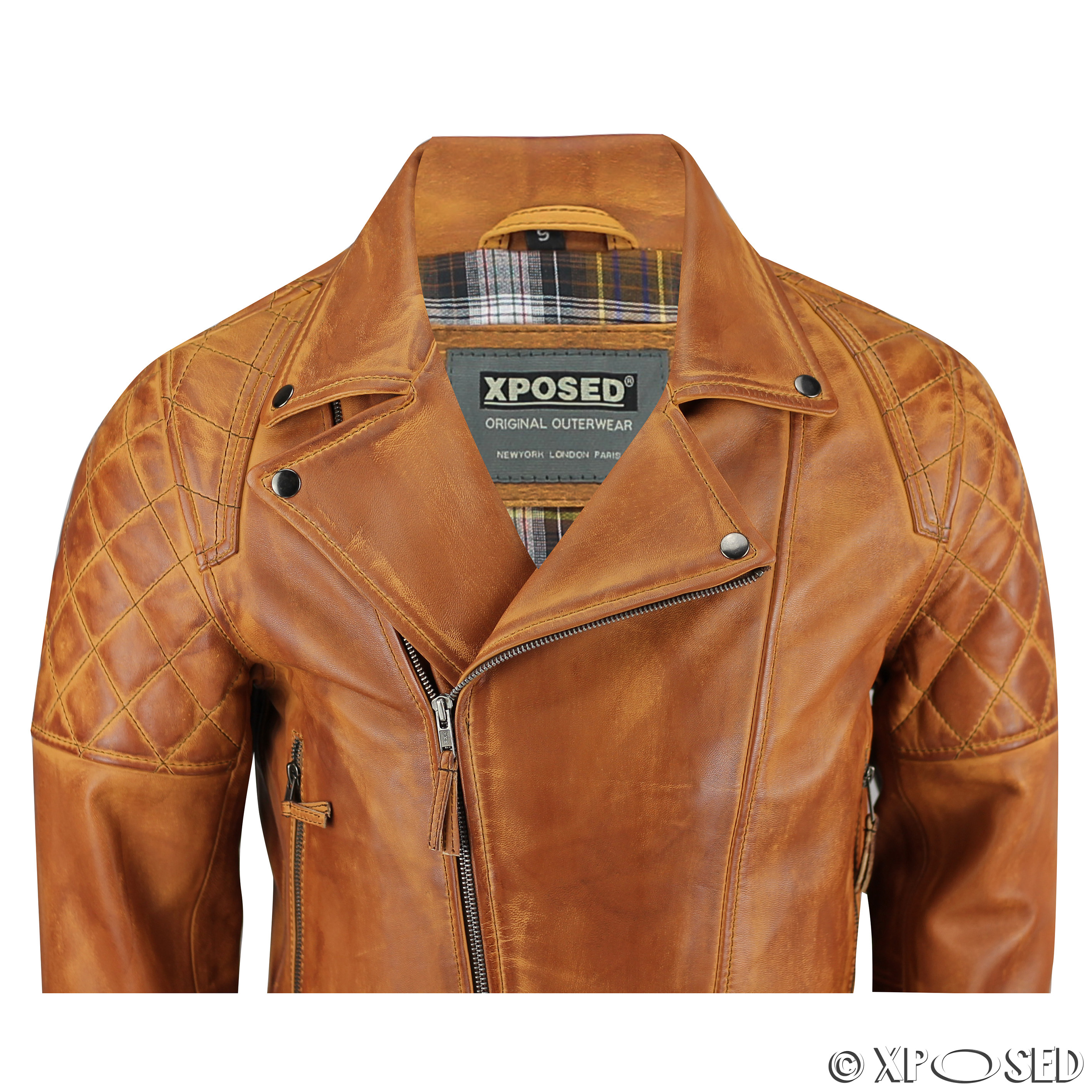 XPOSED Men Real Leather Biker Jacket Vintage Washed Tan Brown ...