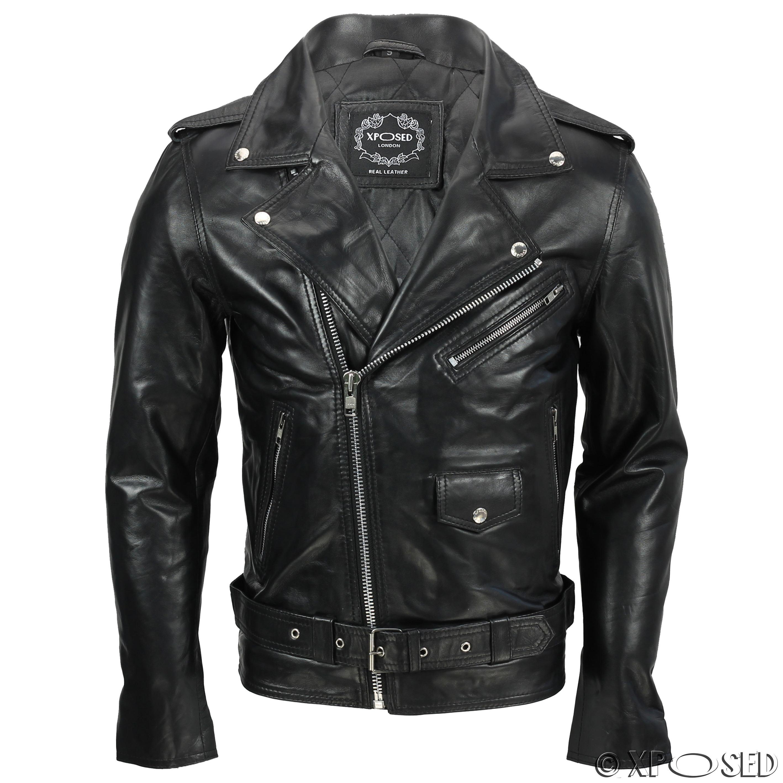Mens Waxed Soft Real Leather Black Biker Jacket Vintage ...