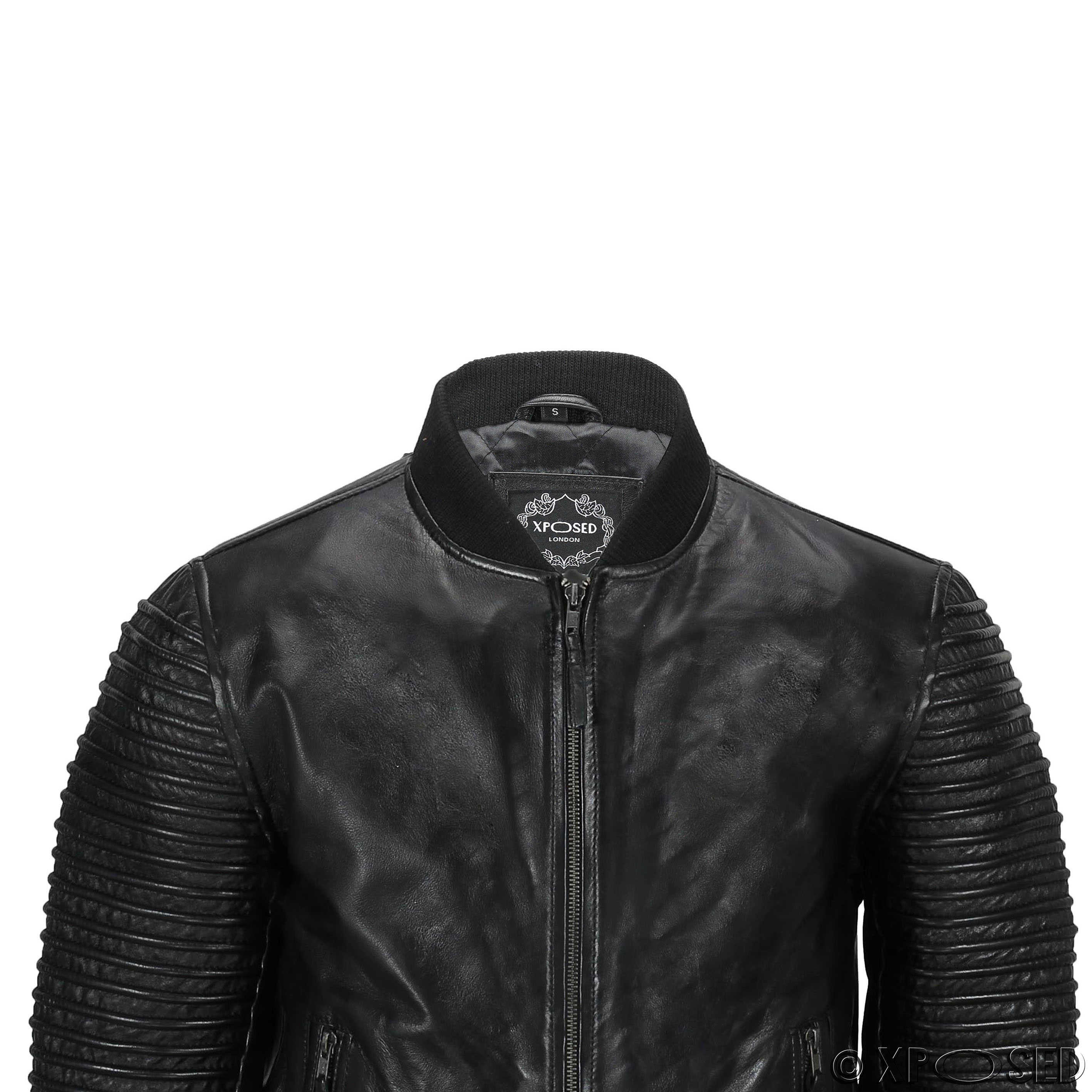 Mens Real Leather Bomber Black Brown Vintage Slim Fit Biker Jacket ...
