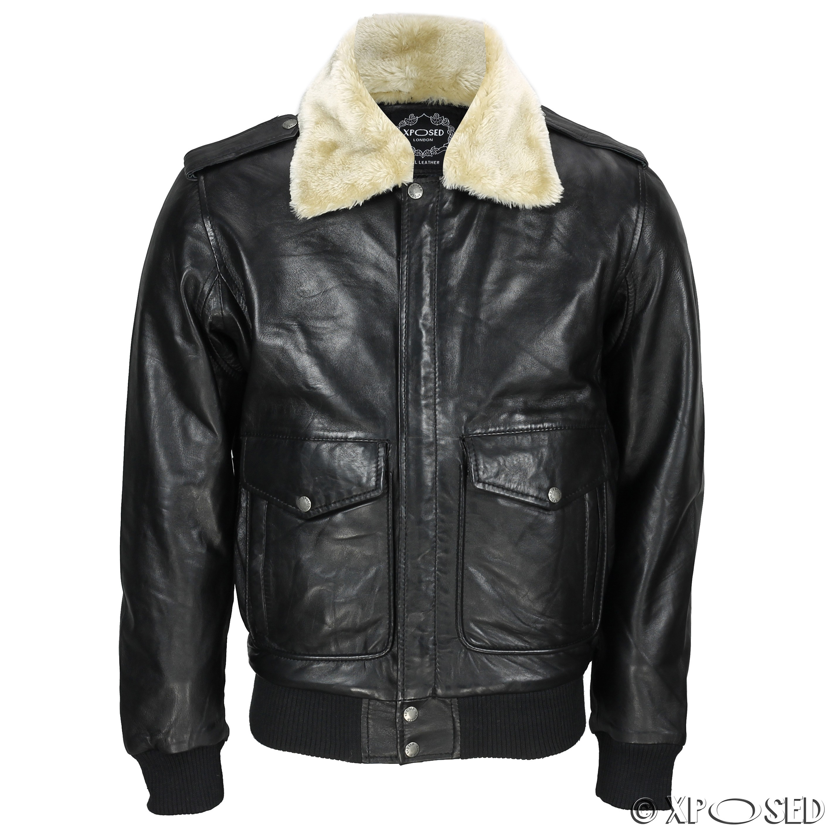 New Mens Real Leather US Air Pilot Bomber Jacket Removable Fur ...